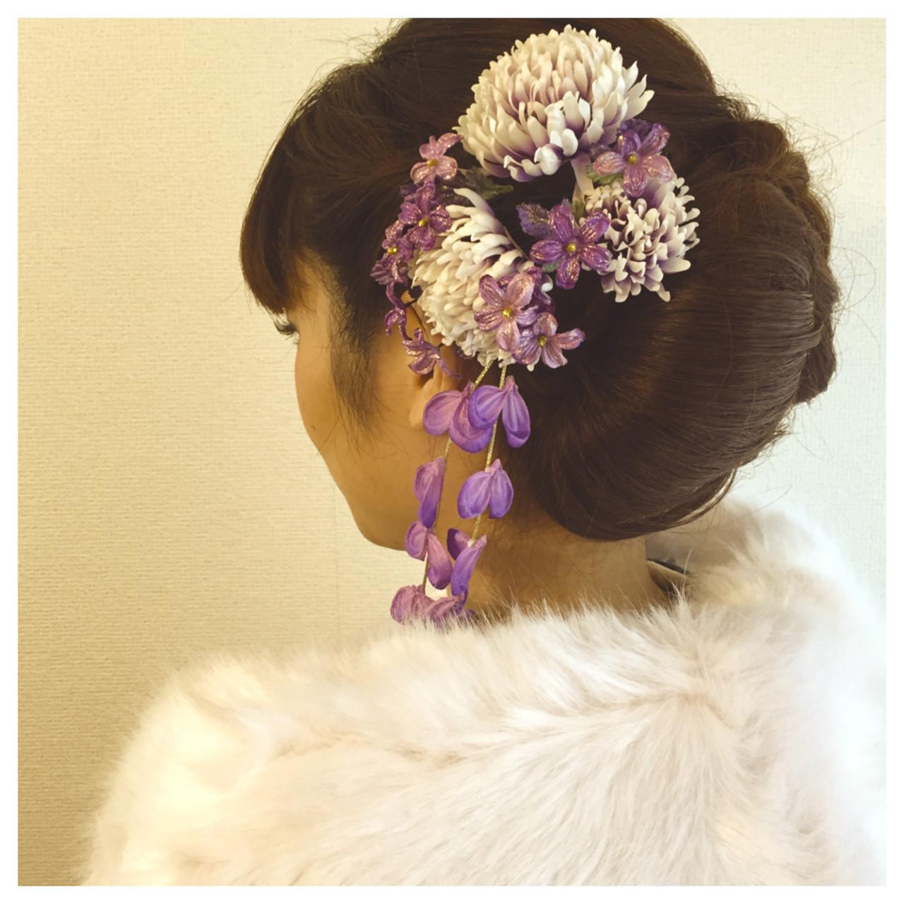 セミロング 成人式 着物 ヘアアレンジヘアスタイルや髪型の写真・画像