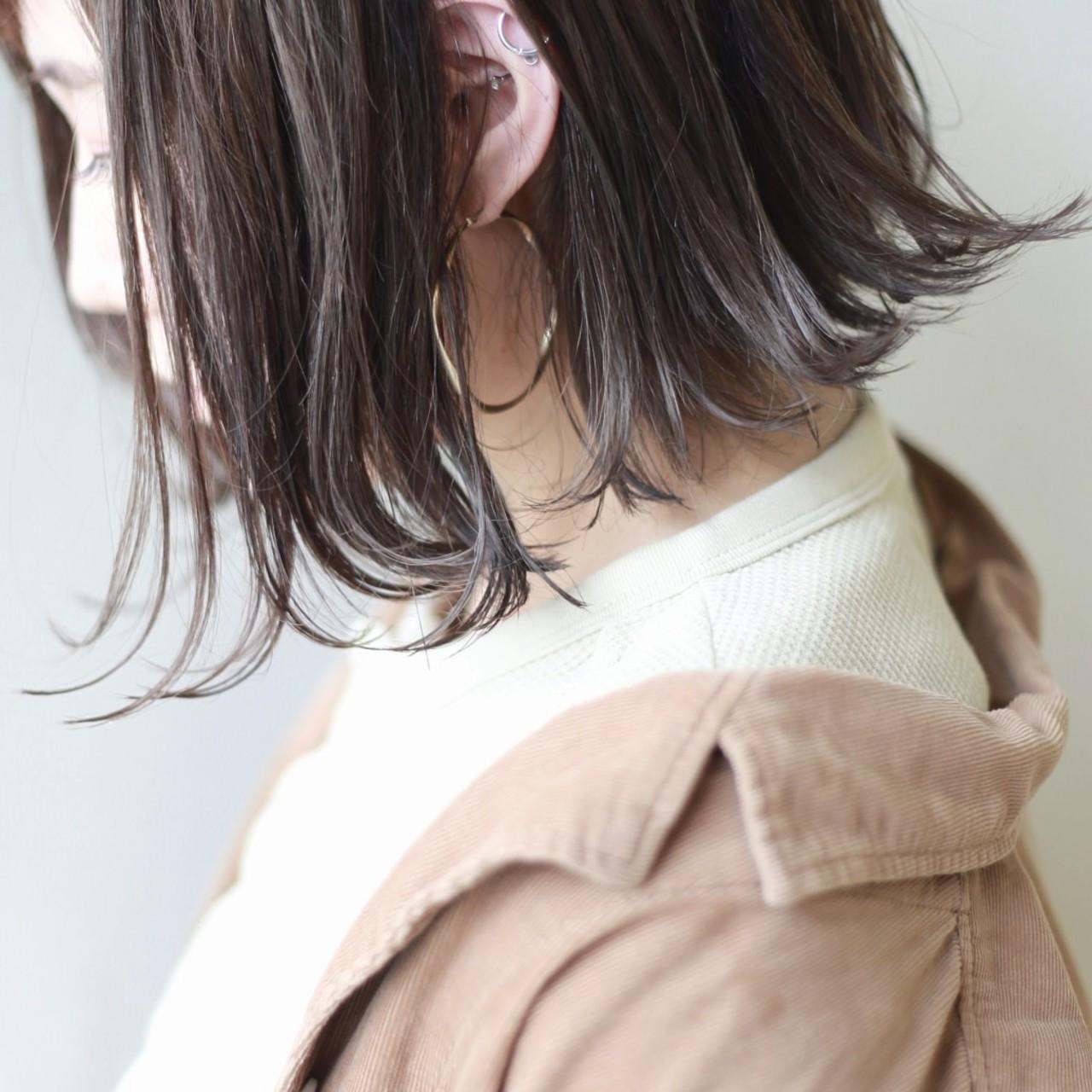 ミルクティーグレー ナチュラル ボブ ハイライト ヘアスタイルや髪型の写真・画像 | 松田武法 / amitiebypretty