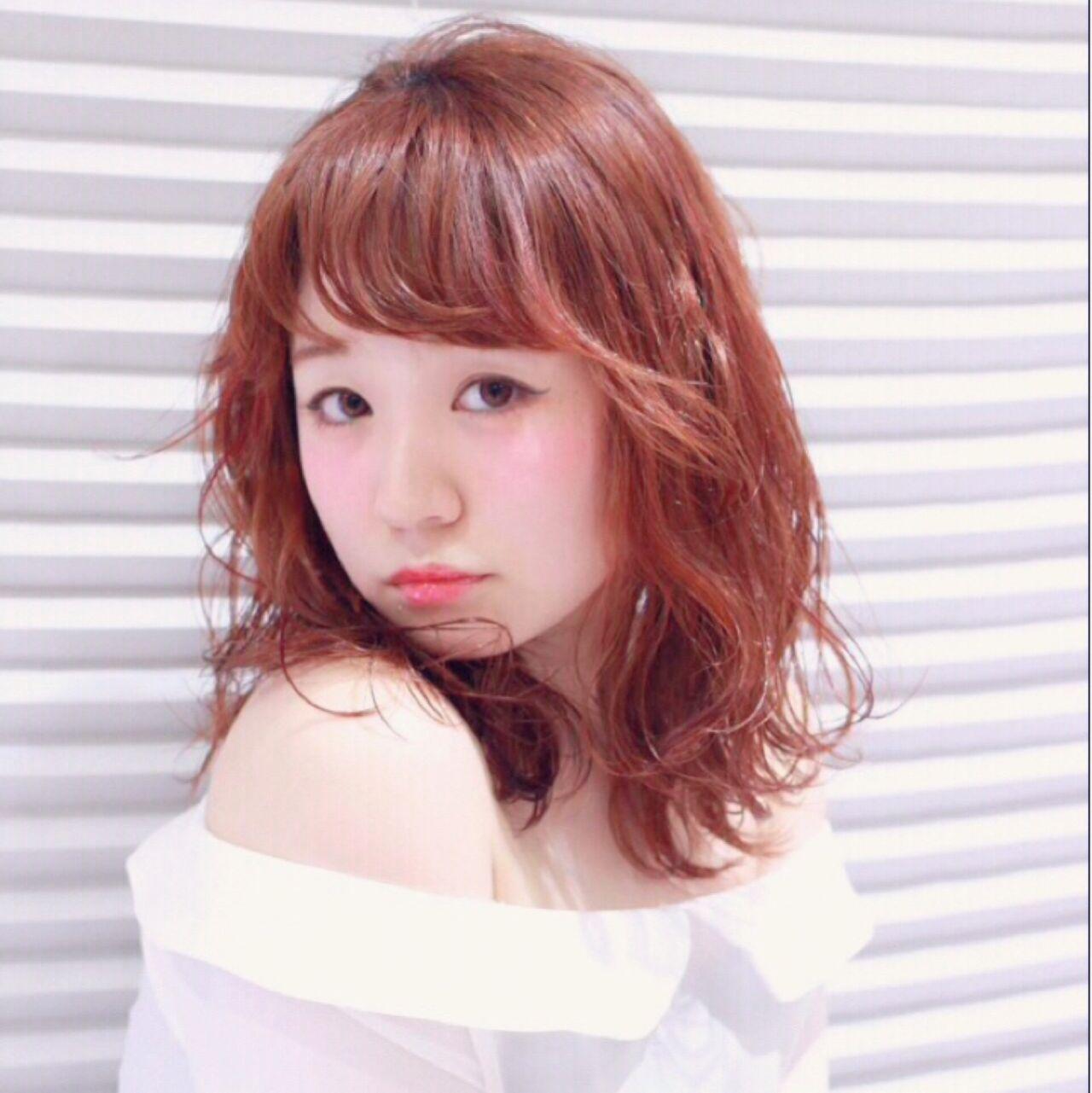 シースルーバング フェミニン ガーリー ミディアム ヘアスタイルや髪型の写真・画像 | 設楽エリカ (shidara erika) /