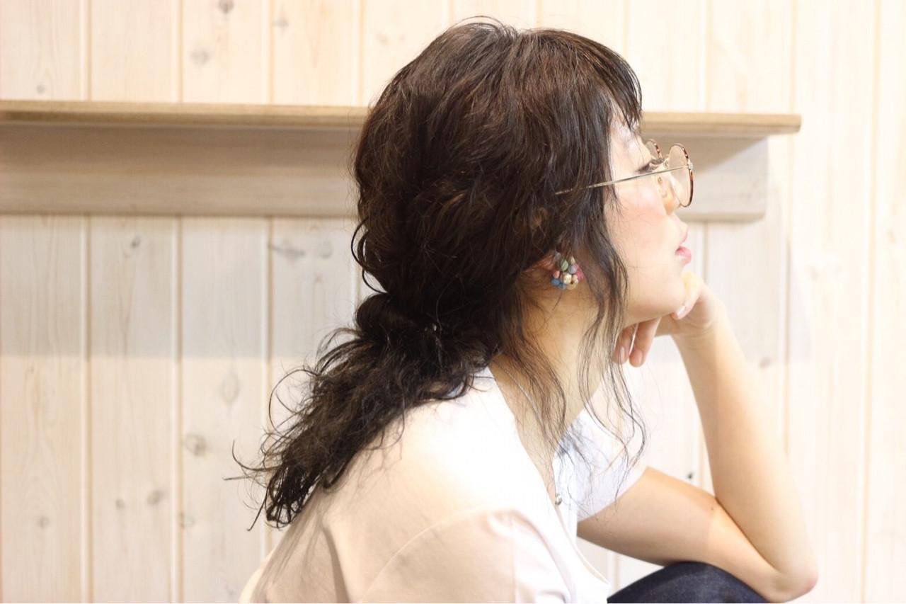ミディアム 黒髪 ナチュラル ヘアアレンジヘアスタイルや髪型の写真・画像