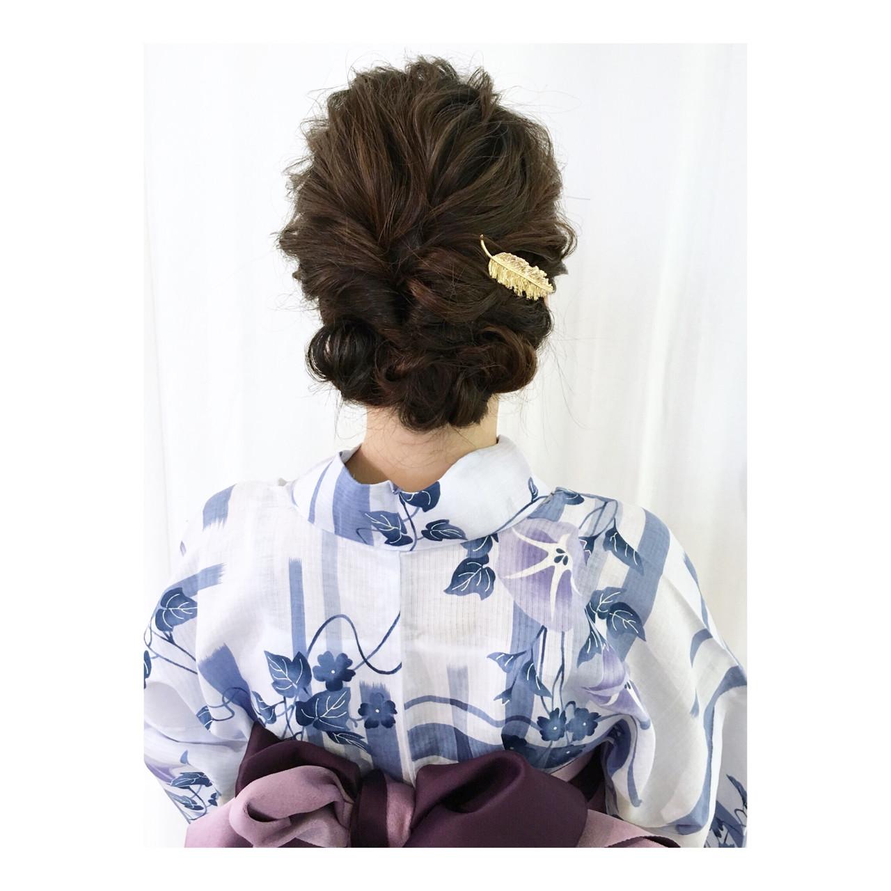 花火大会 ミディアム ヘアアレンジ 夏ヘアスタイルや髪型の写真・画像