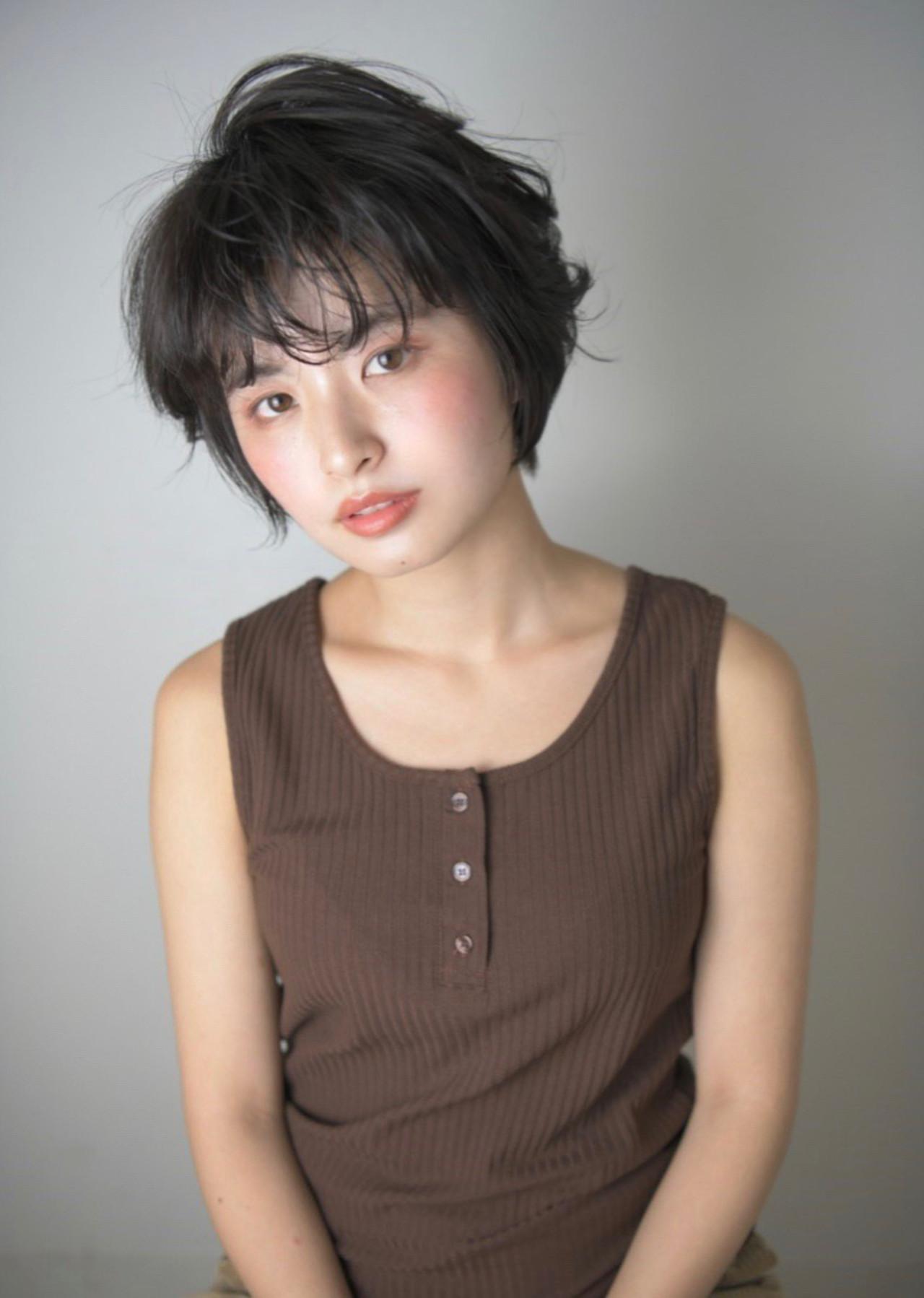 暗髪 前髪 黒髪 ショート ヘアスタイルや髪型の写真・画像   Reina /