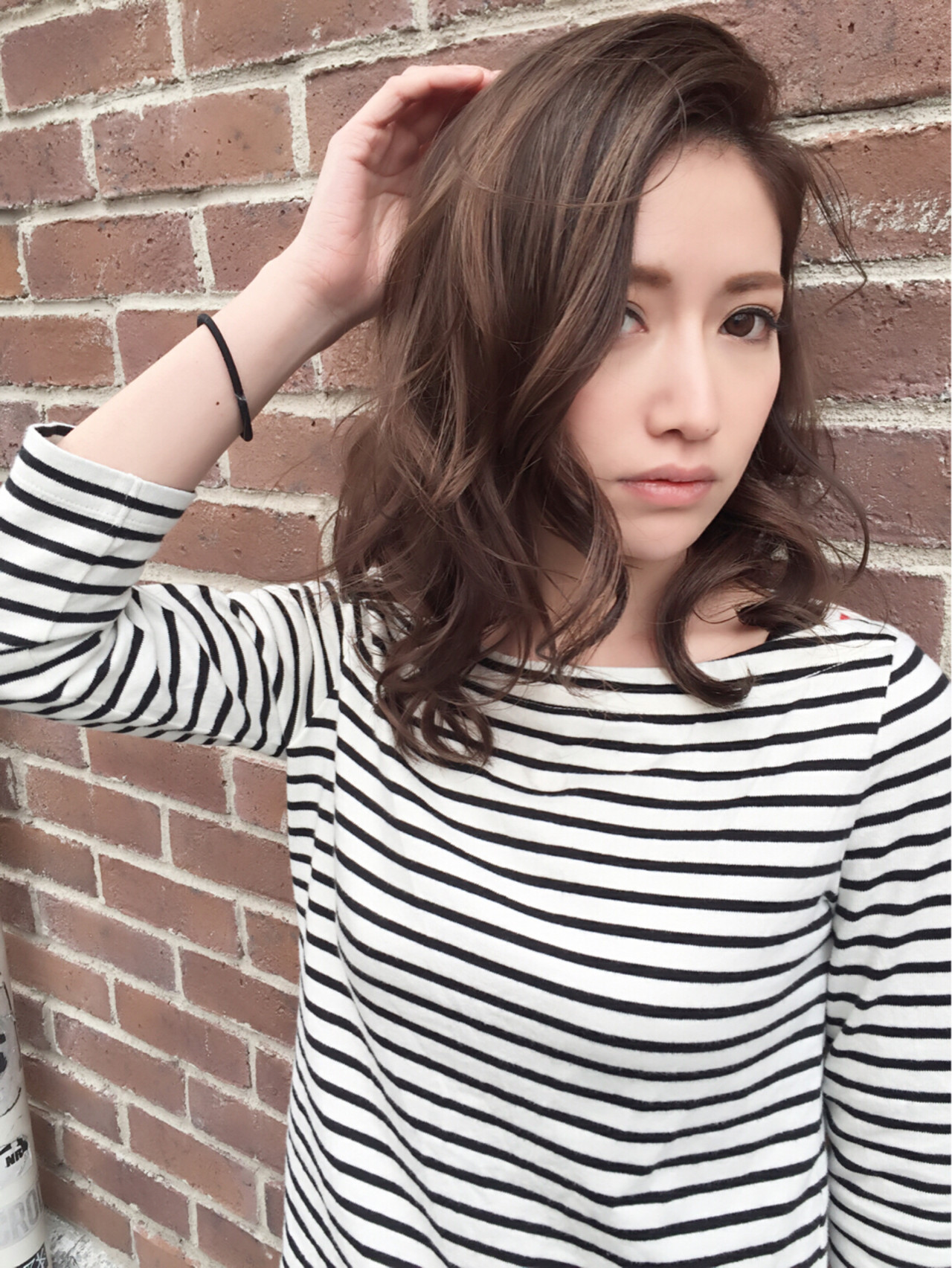 ブラウン ミディアム アッシュ パーマ ヘアスタイルや髪型の写真・画像 | MAKOTO / Camellia吉祥寺