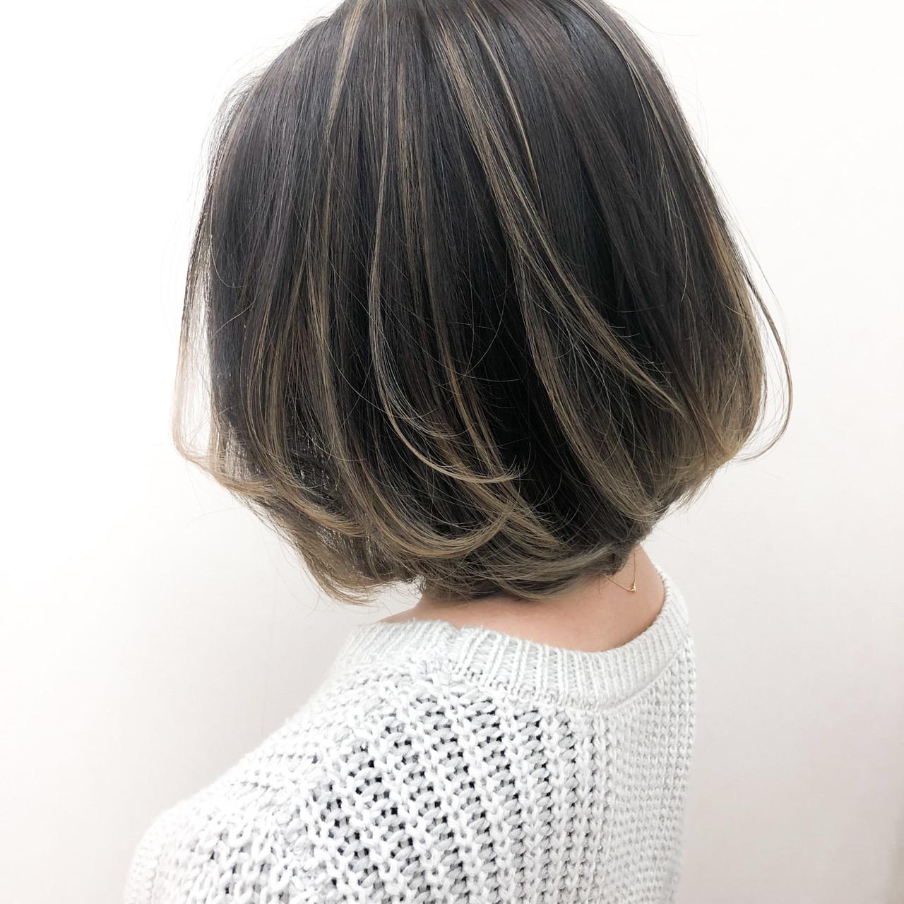 グラデーションカラー 大人ハイライト ボブ バレイヤージュ ヘアスタイルや髪型の写真・画像   YSO / 電髪倶楽部street