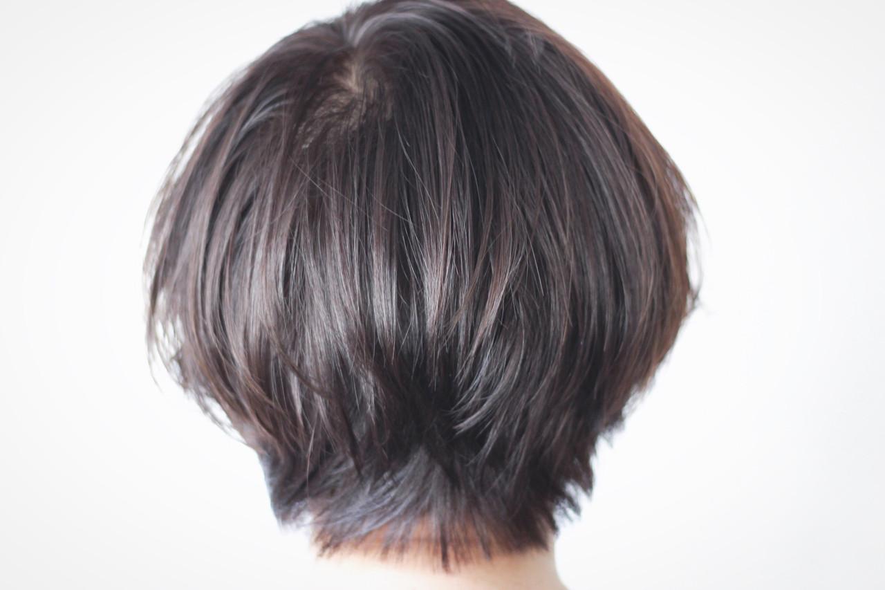 美シルエット ショート ナチュラル ボブ ヘアスタイルや髪型の写真・画像 | creap / creap