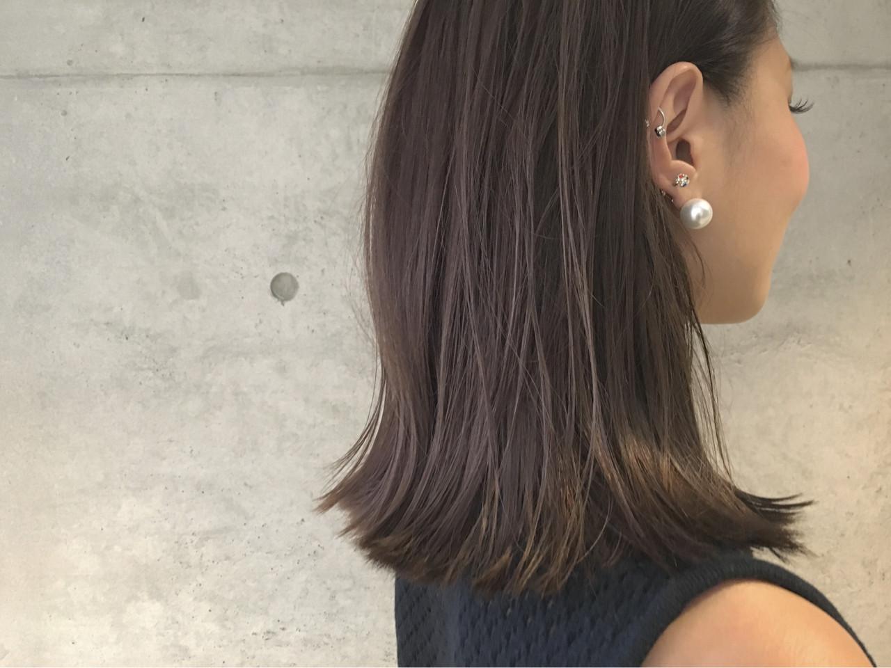 大人かわいい アッシュ 暗髪 ナチュラル ヘアスタイルや髪型の写真・画像 | Sayaka / diptyMOILA