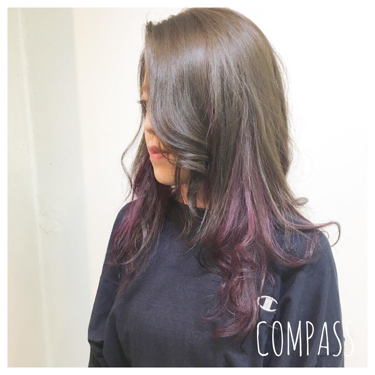 ミディアム ピンク ナチュラル グラデーションカラーヘアスタイルや髪型の写真・画像