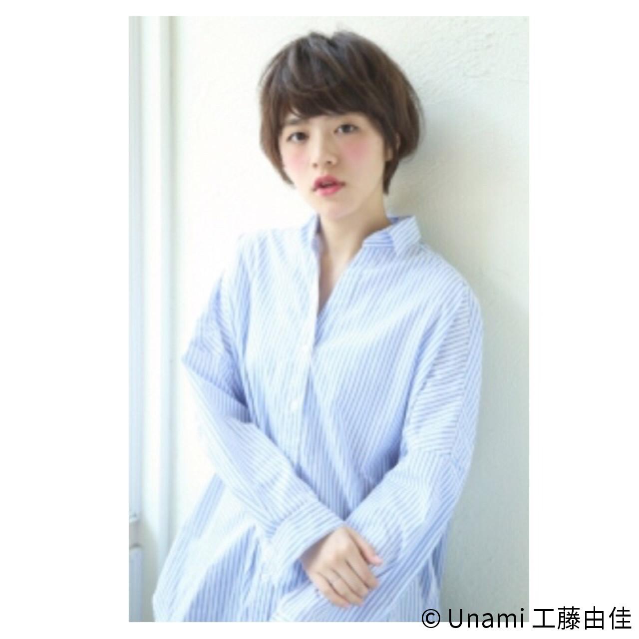 ショートボブ 似合わせ ショート 小顔 ヘアスタイルや髪型の写真・画像 | Unami 工藤由佳 / Unami omotesando