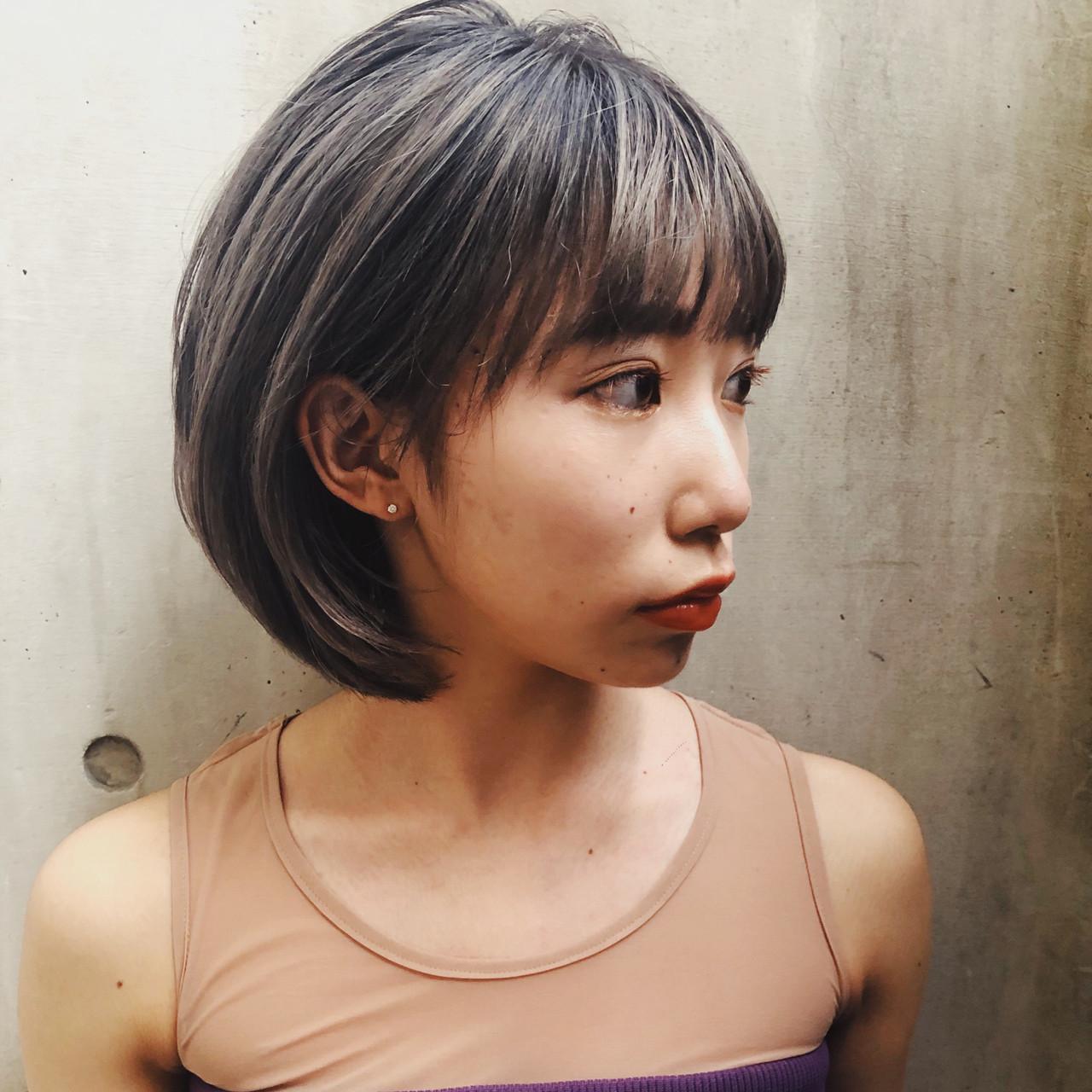 モード ホワイトグレージュ ミニボブ グレージュ ヘアスタイルや髪型の写真・画像 | 栗原貴史 PEEK-A-BOO / PEEK-A-BOO NEWoMan 新宿