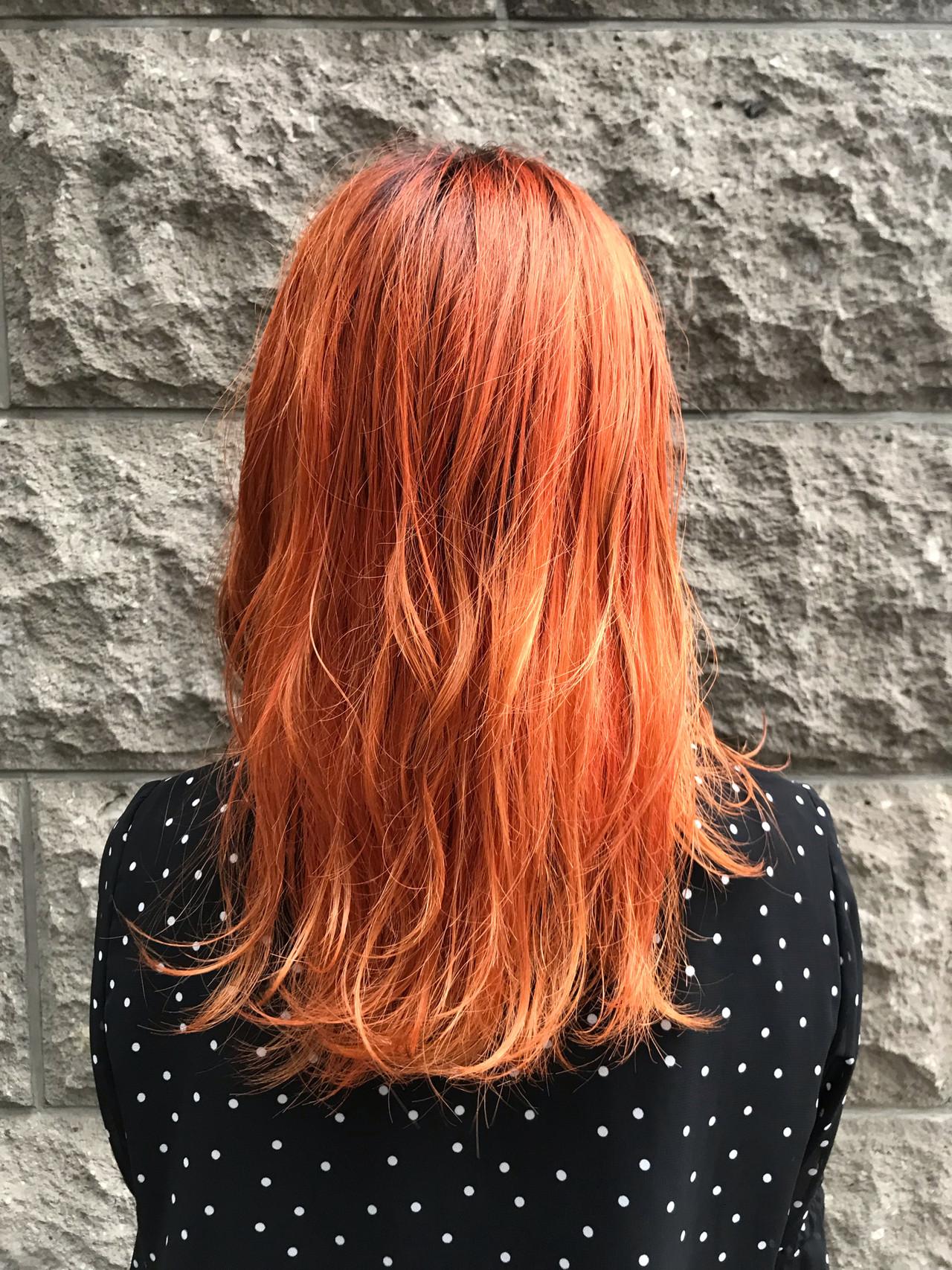 アプリコットオレンジ オレンジ オレンジブラウン オレンジベージュ ヘアスタイルや髪型の写真・画像 | 村井優紀 / FITS CORE フィッツコア