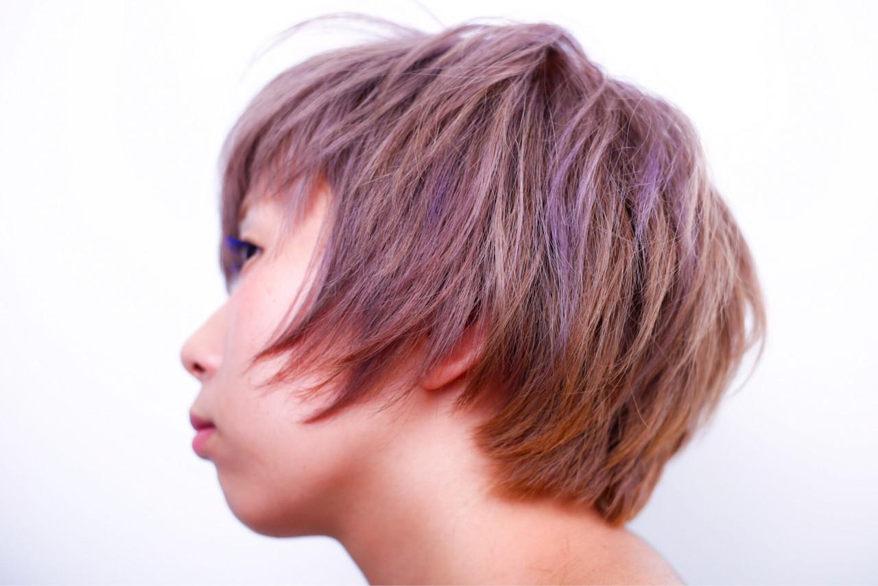 ダブルカラー ベージュ ショート ハイトーン ヘアスタイルや髪型の写真・画像   小笠原 淳 / hair make No.8(ヘアメイクエイト)