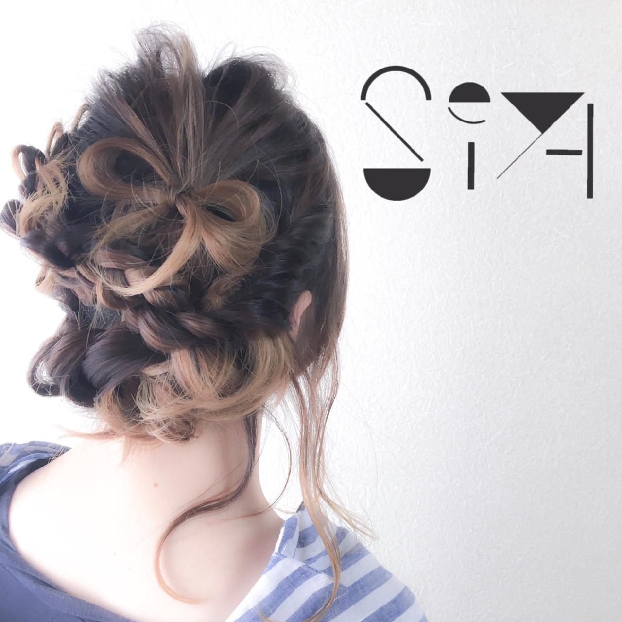 簡単ヘアアレンジ オン眉 ヘアアレンジ ミディアム ヘアスタイルや髪型の写真・画像 | SEIYA YAMAMOTO / Real me
