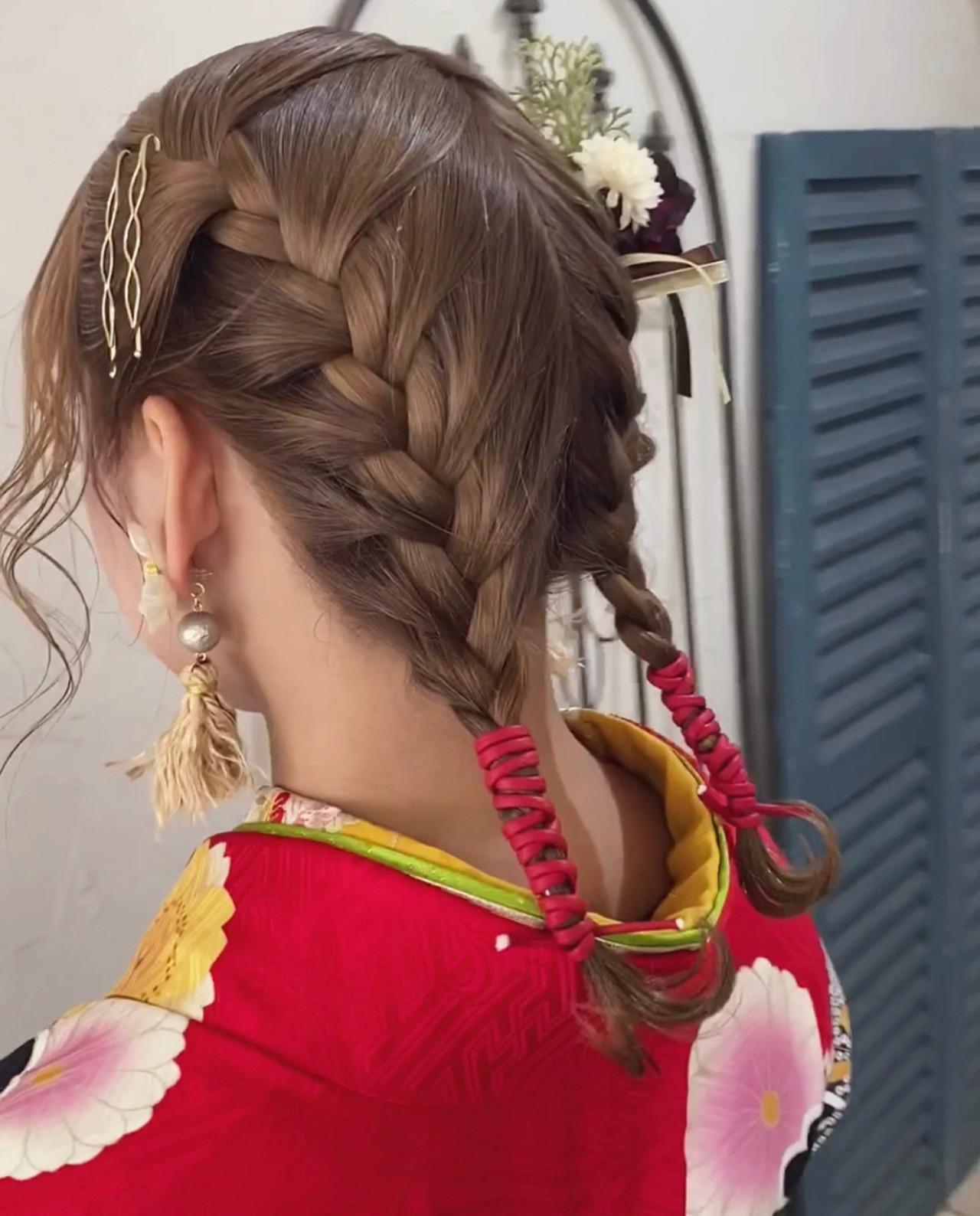 ナチュラル 卒業式 ミディアム ハンドメイド ヘアスタイルや髪型の写真・画像