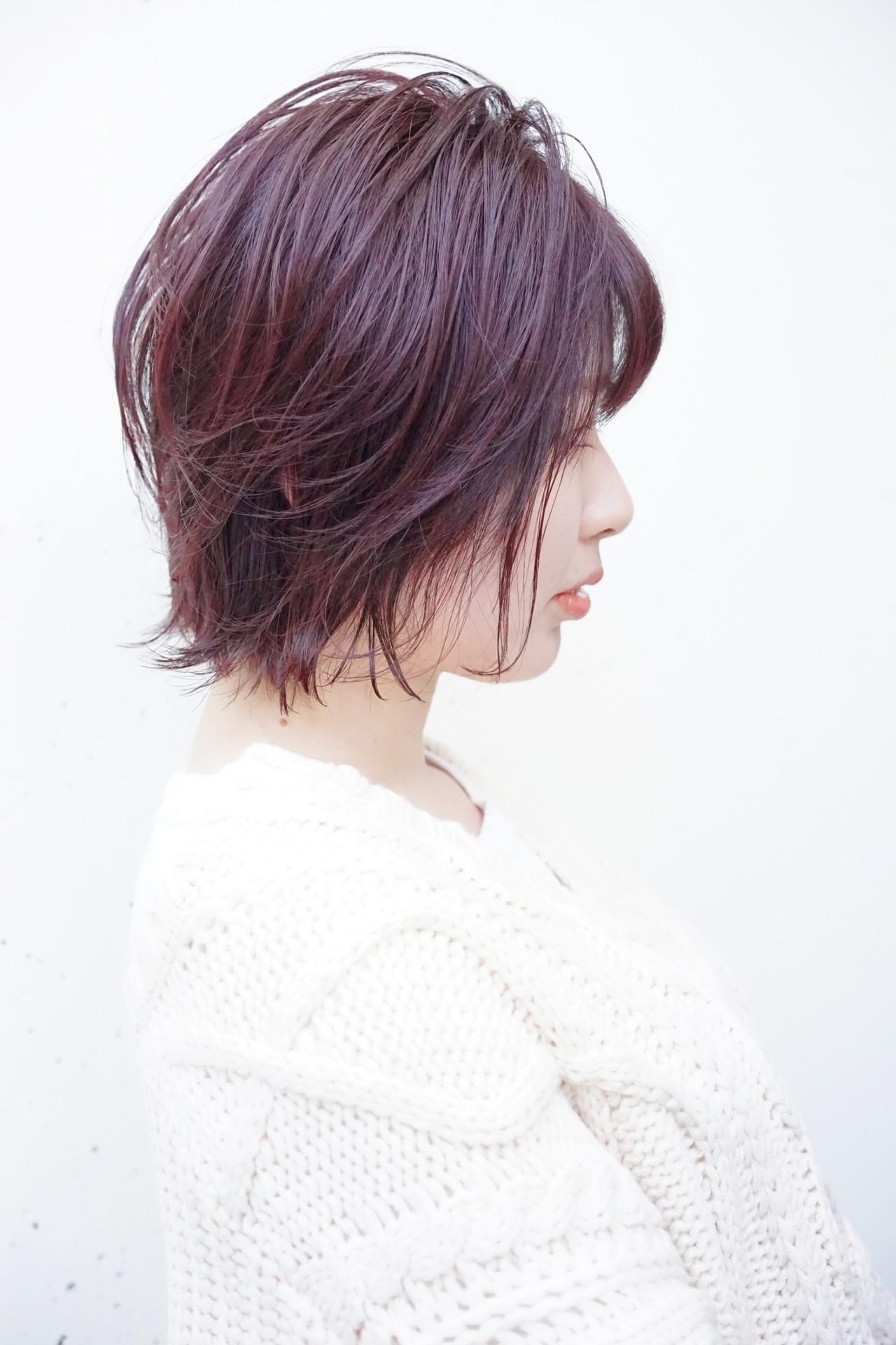 ショートヘア ピンク 大人かわいい ナチュラルヘアスタイルや髪型の写真・画像