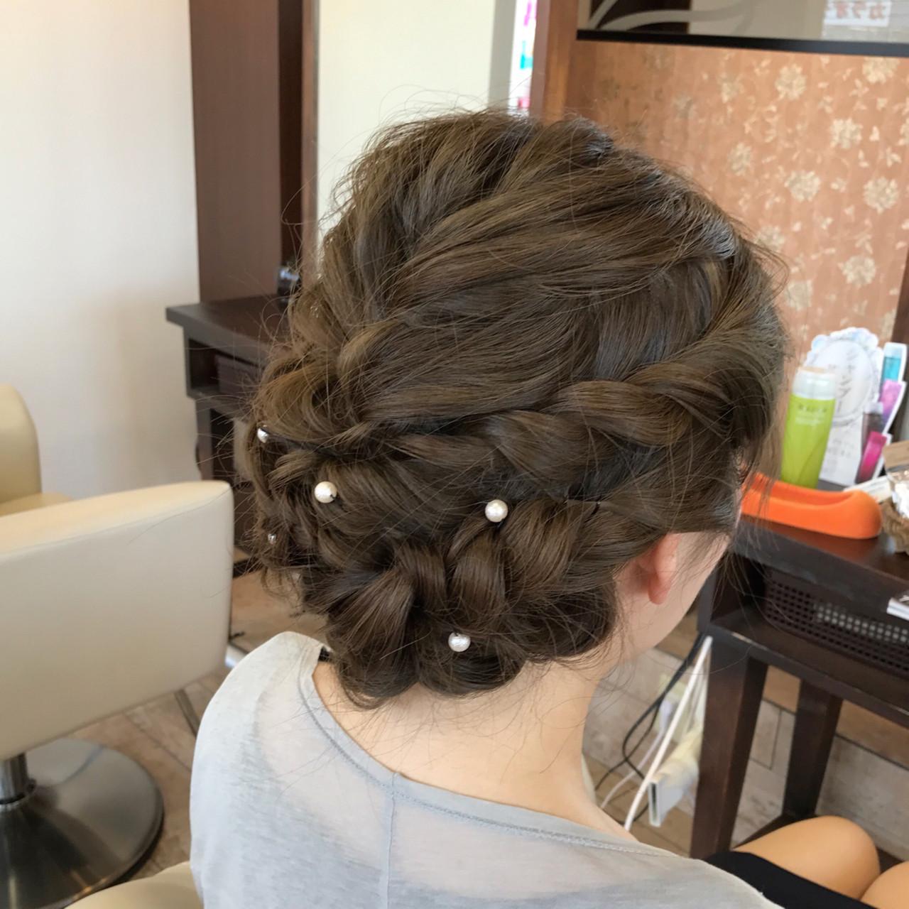 編み込み ガーリー パーティ 波ウェーブヘアスタイルや髪型の写真・画像