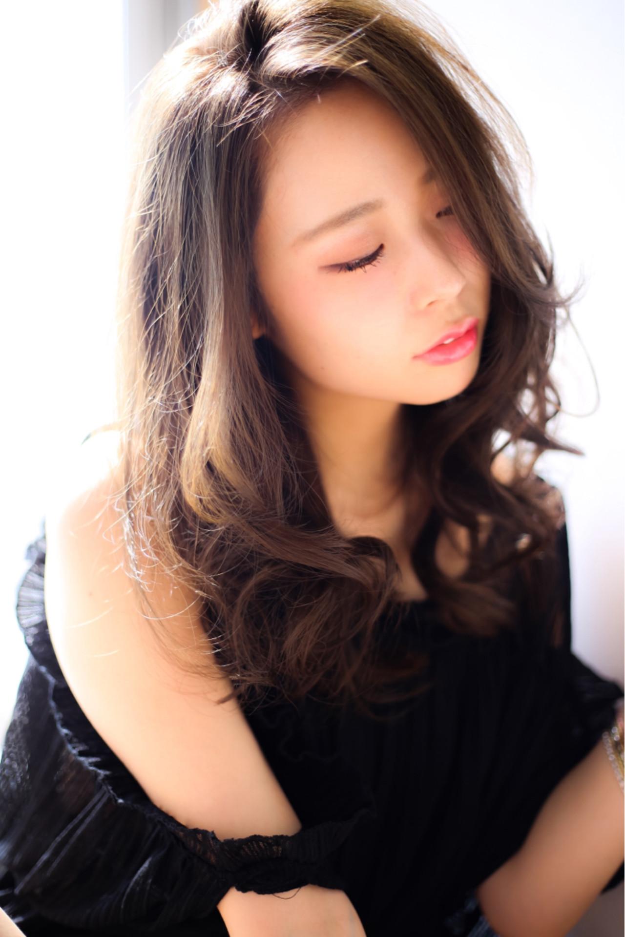 暗髪 セミロング くせ毛風 ゆるふわ ヘアスタイルや髪型の写真・画像   賀満洋行/OCEAN Hair&Life / OCEAN Hair&Life