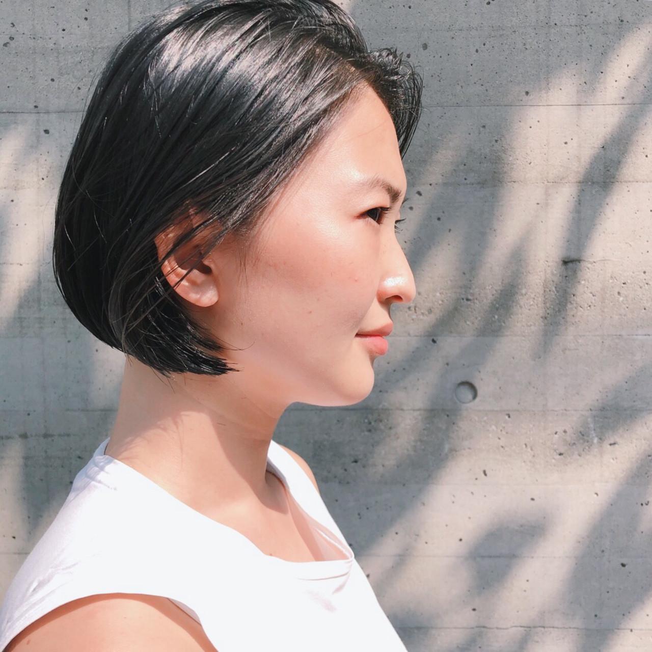 ミニボブ 黒髪 ボブ オフィス ヘアスタイルや髪型の写真・画像 | 山庄司 祐希 / KATE  omotesando