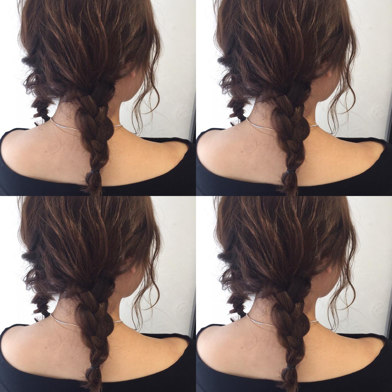 ミディアム ショート 三つ編み 簡単ヘアアレンジヘアスタイルや髪型の写真・画像