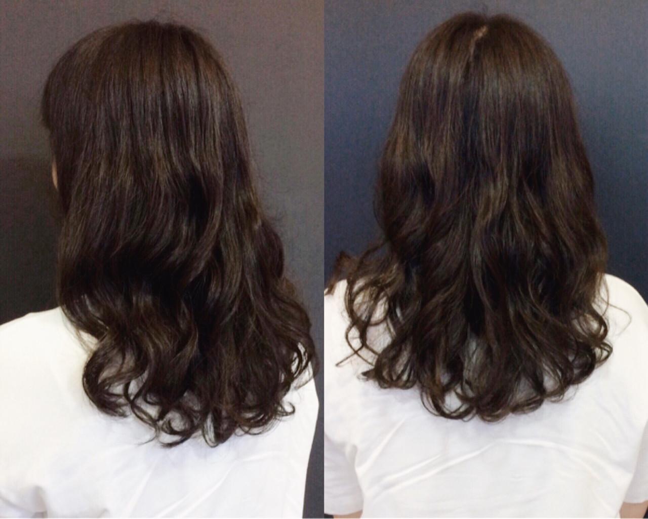 ゆるふわ デジタルパーマ ナチュラル セミロングヘアスタイルや髪型の写真・画像