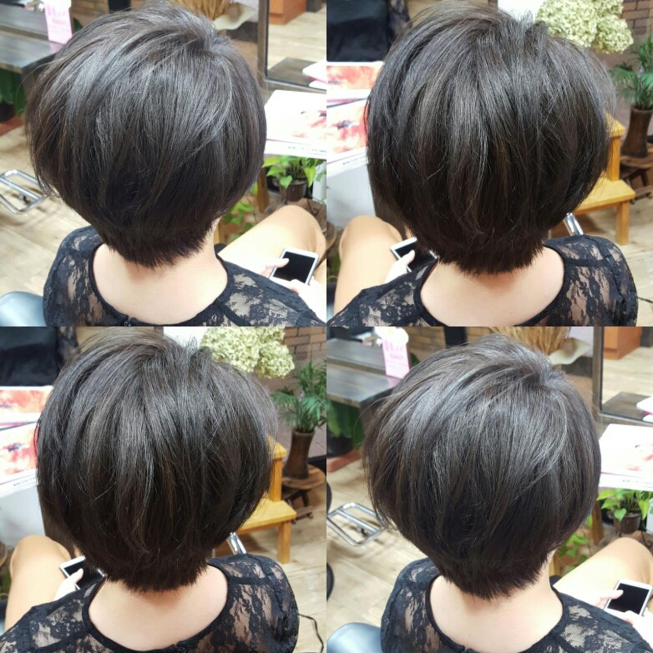 ショートボブ 暗髪 艶髪 ナチュラルヘアスタイルや髪型の写真・画像