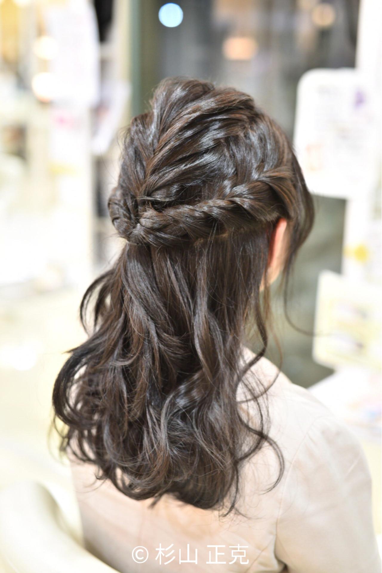 謝恩会 結婚式 ロング フィッシュボーン ヘアスタイルや髪型の写真・画像   杉山 正克 / lCONIQ 日進梅森台