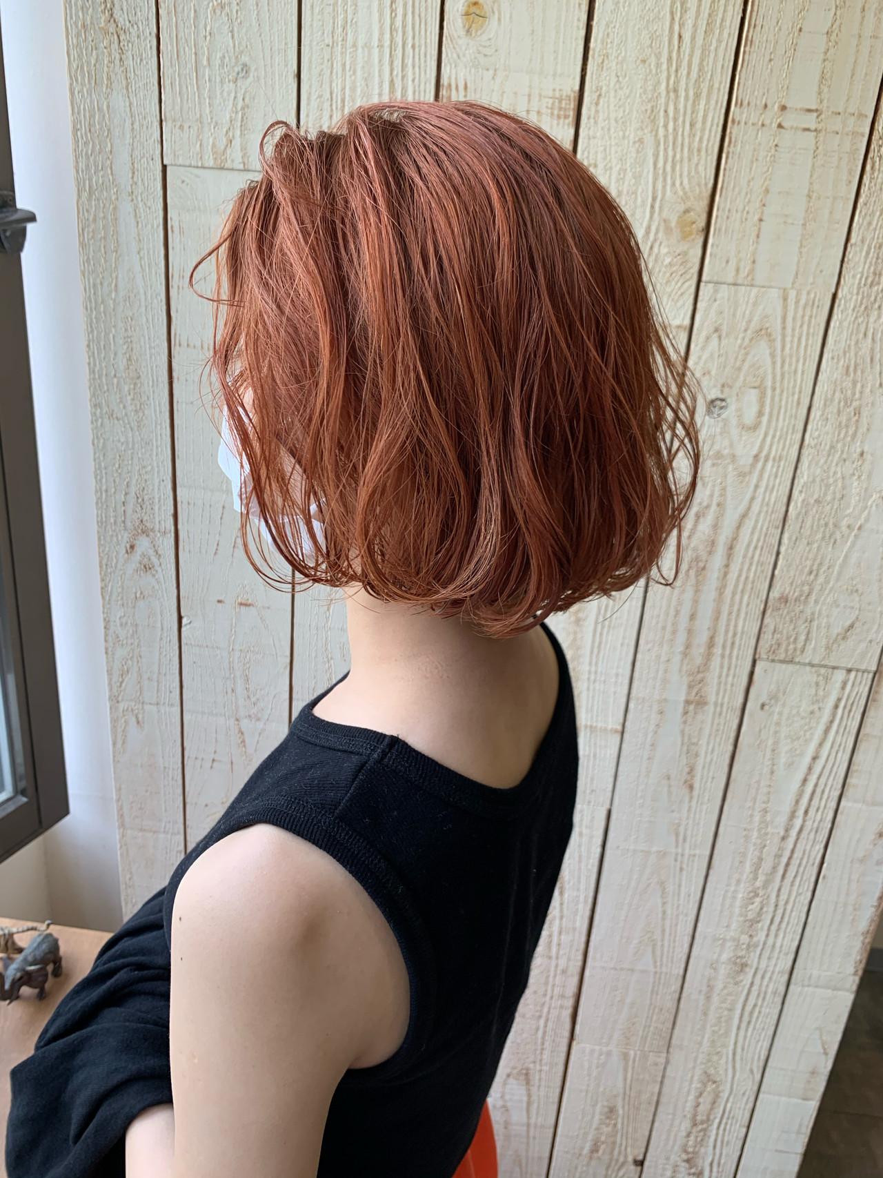 ボブ ショートヘア オレンジカラー オレンジベージュ ヘアスタイルや髪型の写真・画像 | HARU / little × PORTO sannomiya