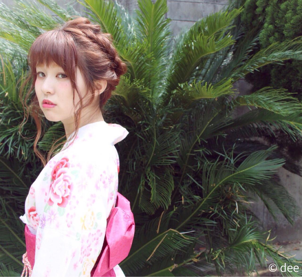 波ウェーブ セミロング 花火大会 ヘアアレンジ ヘアスタイルや髪型の写真・画像 | dee / dee