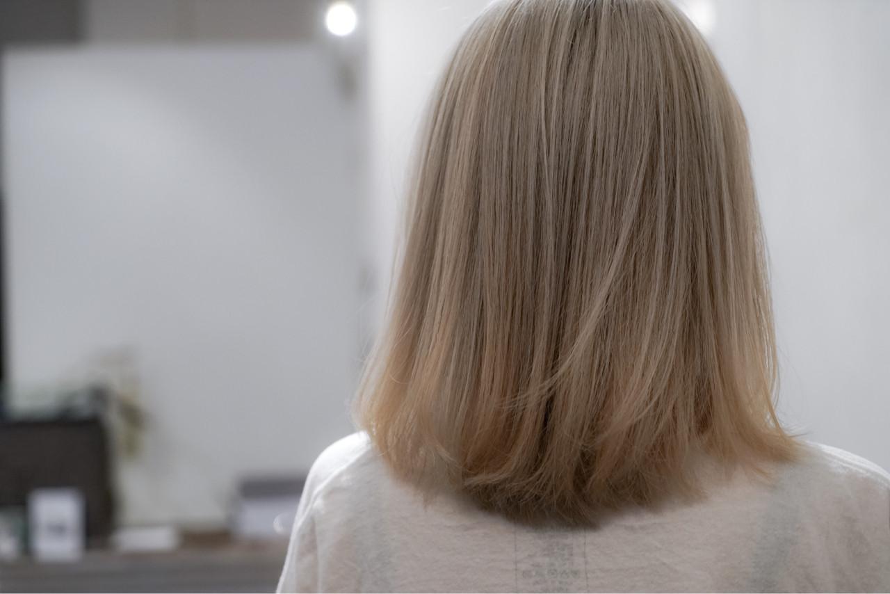ゆるふわ アッシュ ボブ グラデーションカラーヘアスタイルや髪型の写真・画像