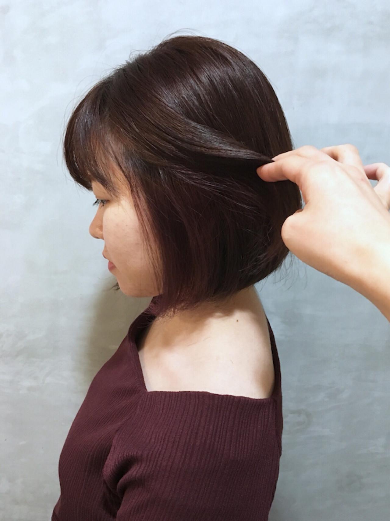 ピンク インナーカラー 前下がりボブ ピンクパープル ヘアスタイルや髪型の写真・画像 | Yumi Hiramatsu / Sourire Imaizumi【スーリール イマイズミ】
