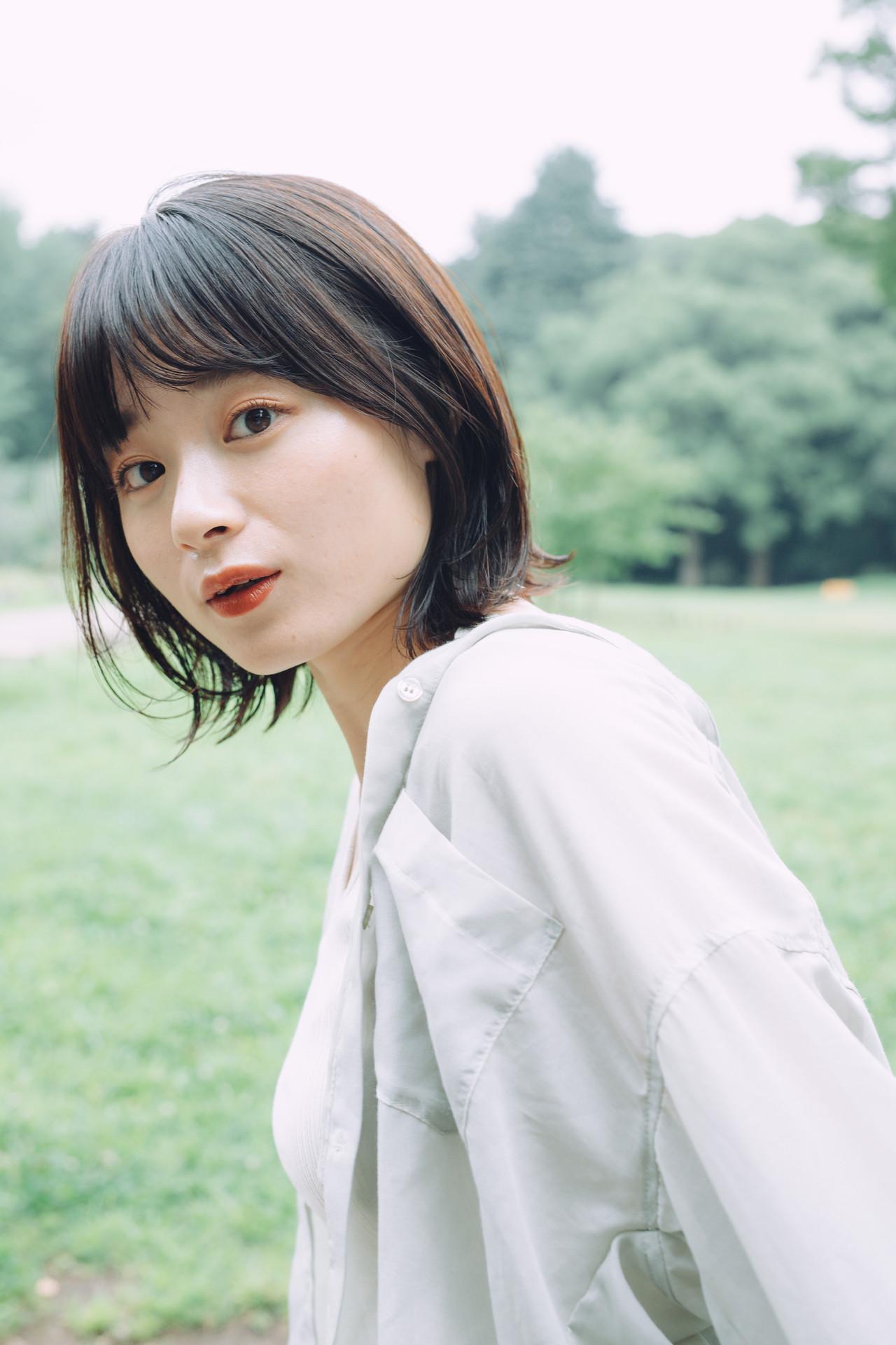 外ハネボブ ナチュラル モテボブ 切りっぱなしボブ ヘアスタイルや髪型の写真・画像 | 児玉善央 / GARDEN harajuku
