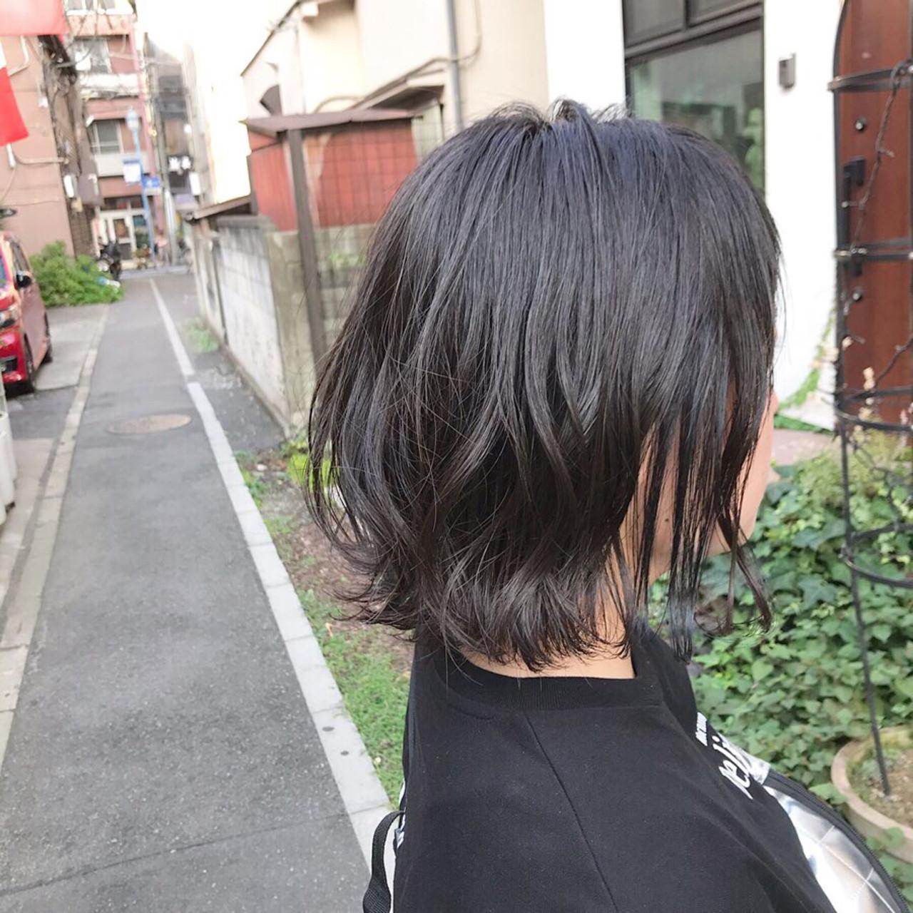 ボブ 外ハネボブ 切りっぱなしボブ ショートバング ヘアスタイルや髪型の写真・画像   金子ひろゆき / sola