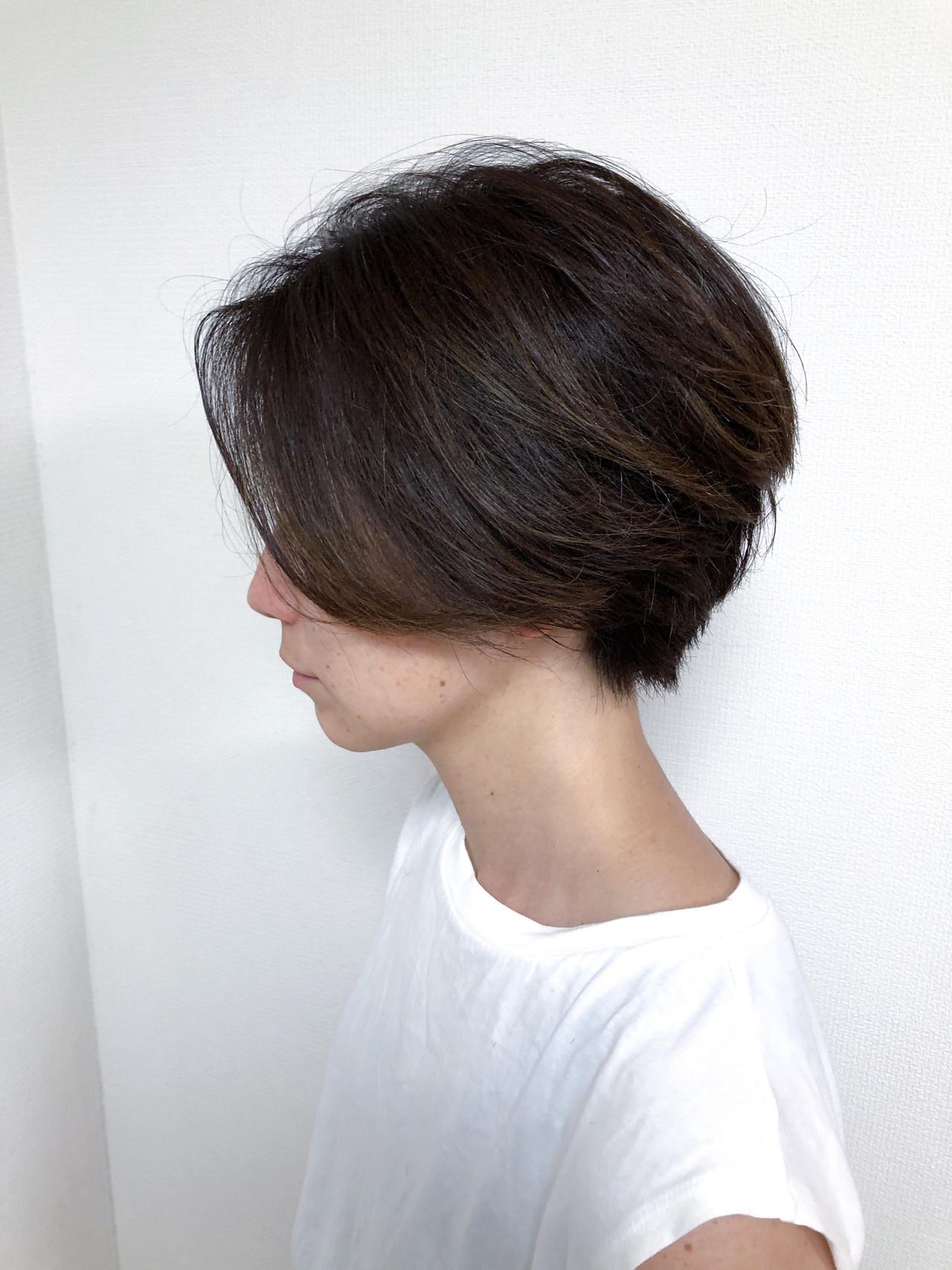 ハイライト ショートボブ ナチュラル 前下がりショート ヘアスタイルや髪型の写真・画像 | 和瀬田伸一 / MAISON