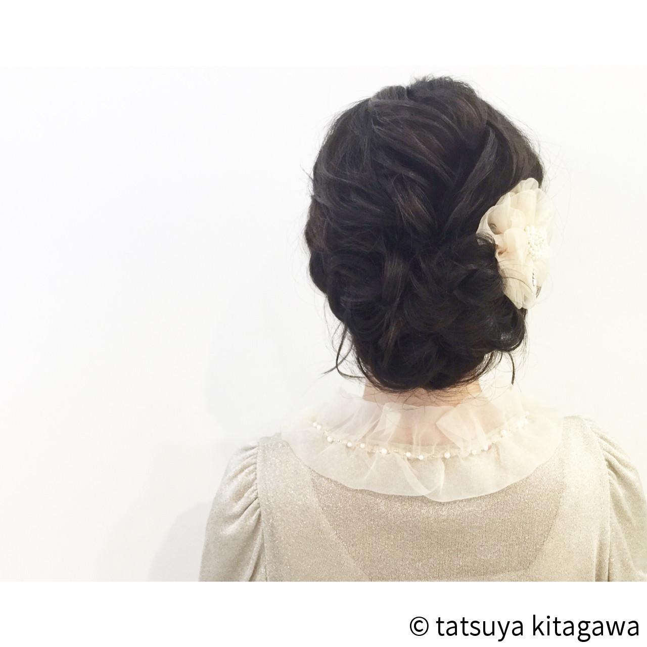 ヘアアレンジ セミロング ゆるふわ フェミニンヘアスタイルや髪型の写真・画像
