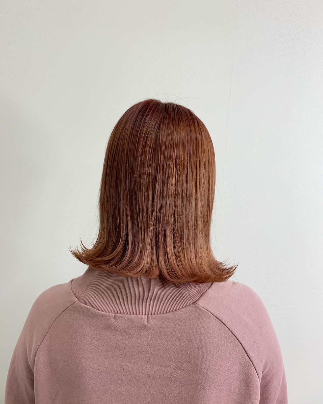 ピンクベージュ ナチュラル 切りっぱなしボブ ピンクラベンダー ヘアスタイルや髪型の写真・画像 | 深見 拓/ハイライト / soin de brace 大日店