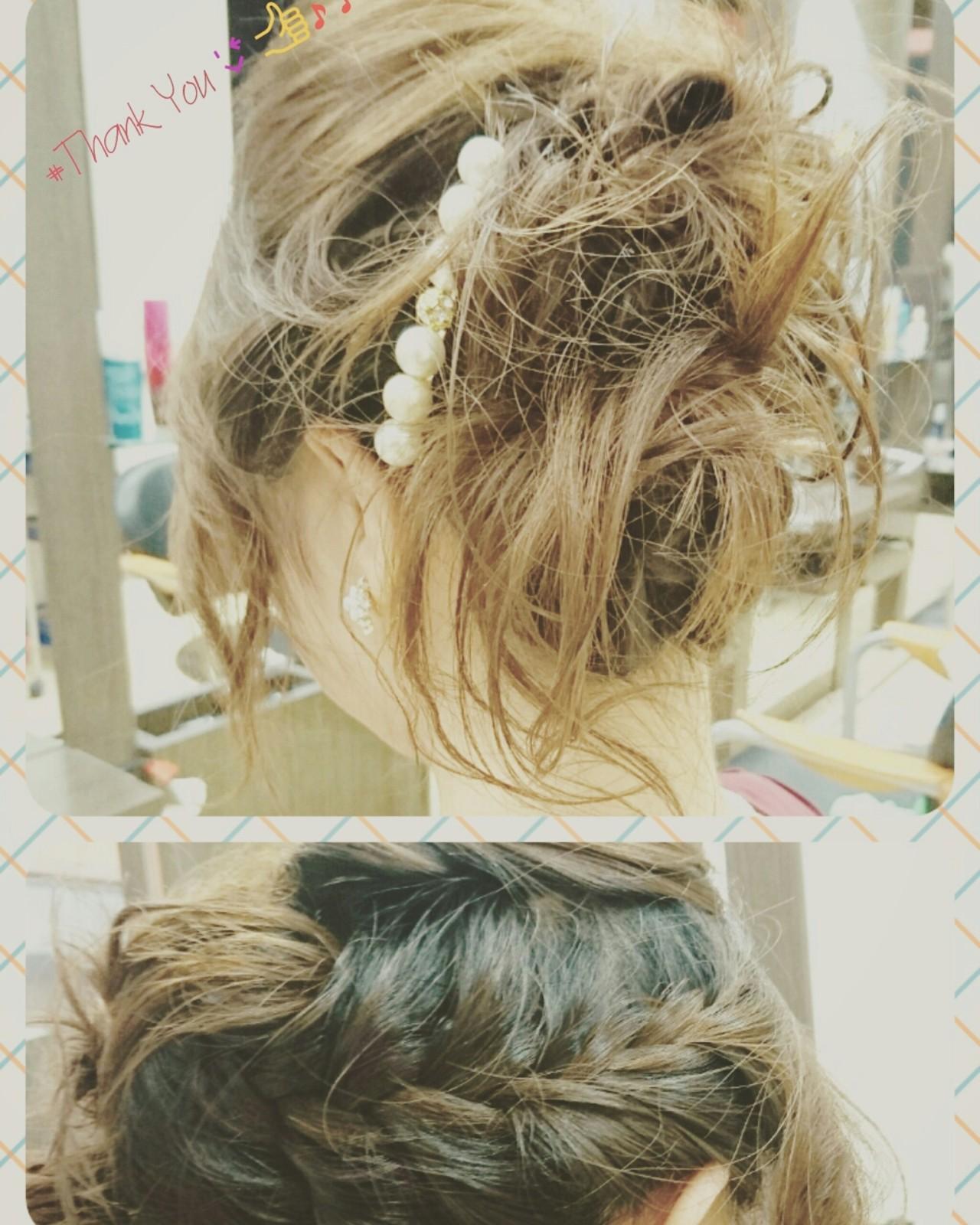 ヘアアレンジ 編み込み バレッタ ミディアム ヘアスタイルや髪型の写真・画像 | 石沢知康 / feel.aレキシントンプラザ店