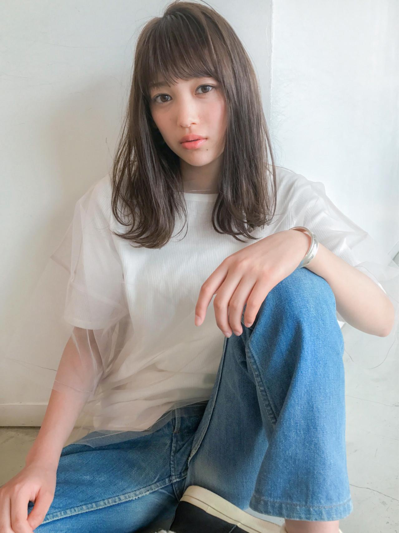 大人かわいい フリンジバング ロブ ミディアム ヘアスタイルや髪型の写真・画像 | lora.garden 細田真吾 / lora.garden