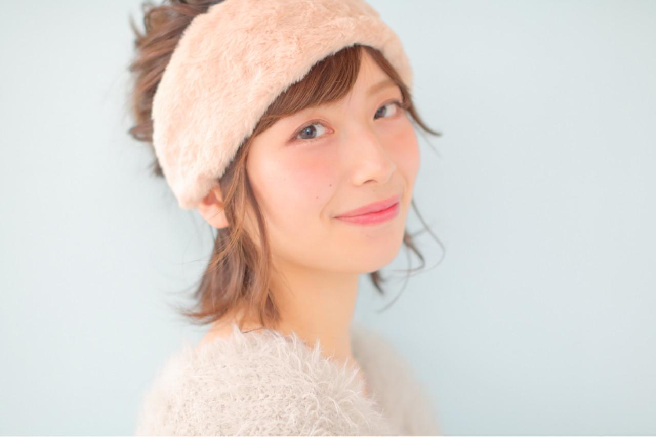ショート お団子 ヘアアクセ ピュアヘアスタイルや髪型の写真・画像