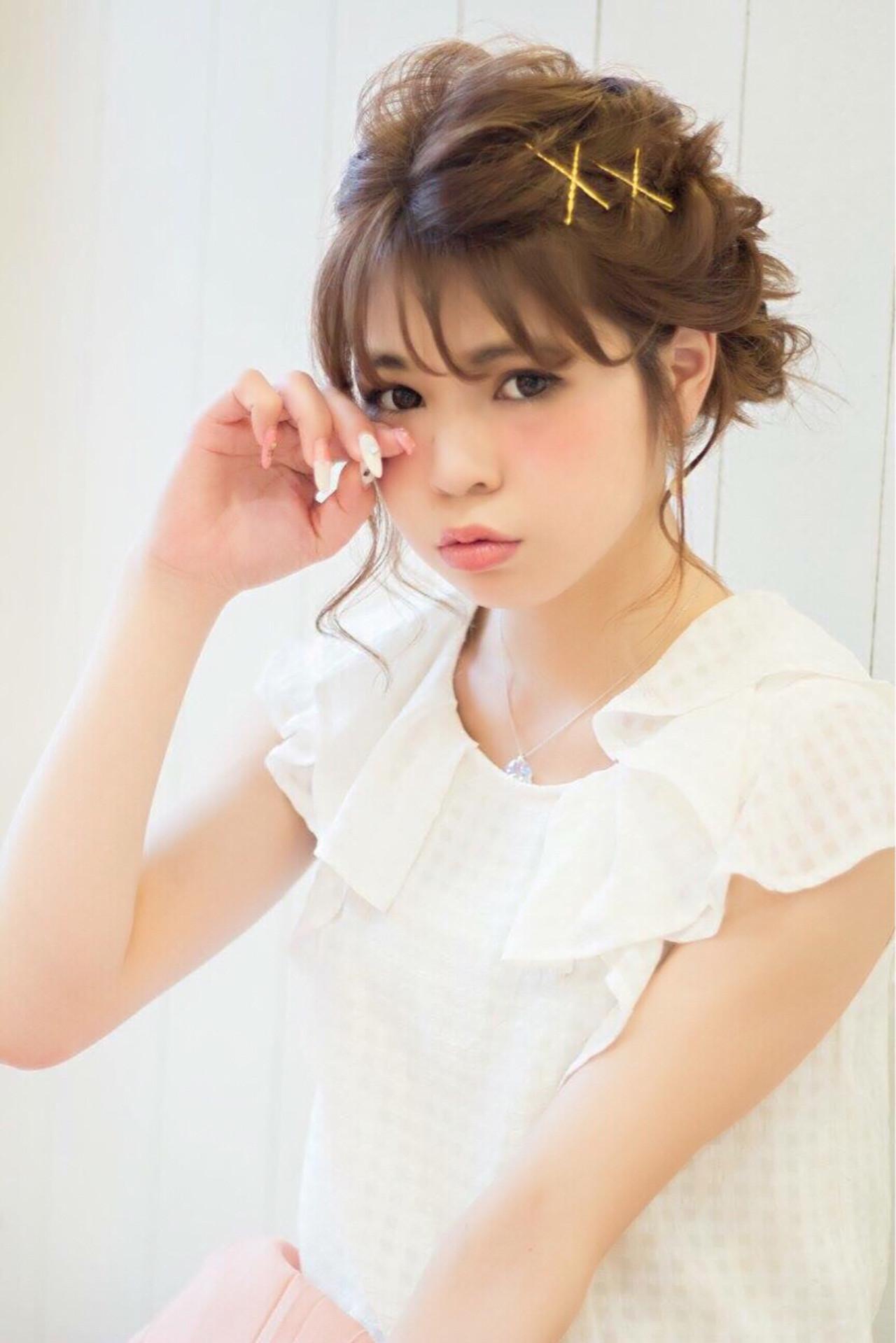 お団子 ミディアム アップスタイル モテ髪 ヘアスタイルや髪型の写真・画像 | 有園 舞花 /