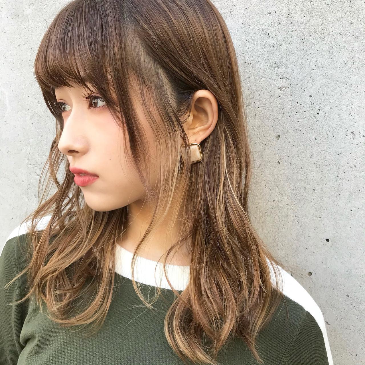 ベージュ 大人かわいい ハイライト ミディアム ヘアスタイルや髪型の写真・画像   伊藤愛子 GARDEN / GARDEN  omotesando