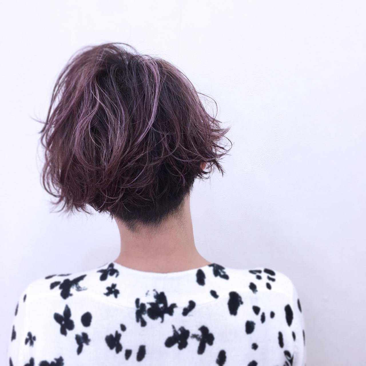 外ハネ パーマ 小顔 ショート ヘアスタイルや髪型の写真・画像 | YSO / 電髪倶楽部street