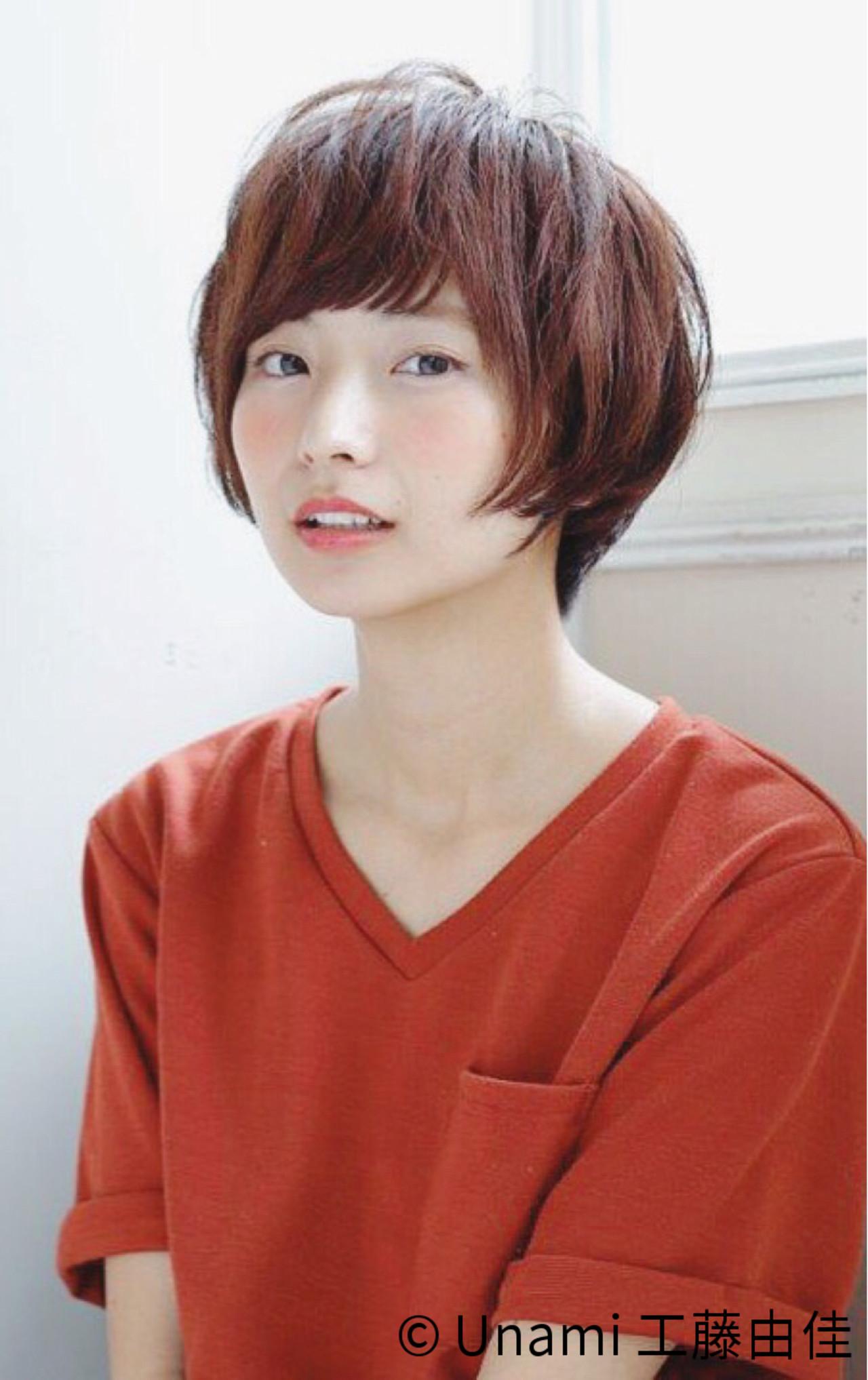 ナチュラル 田中美保 アッシュ ショートヘアスタイルや髪型の写真・画像