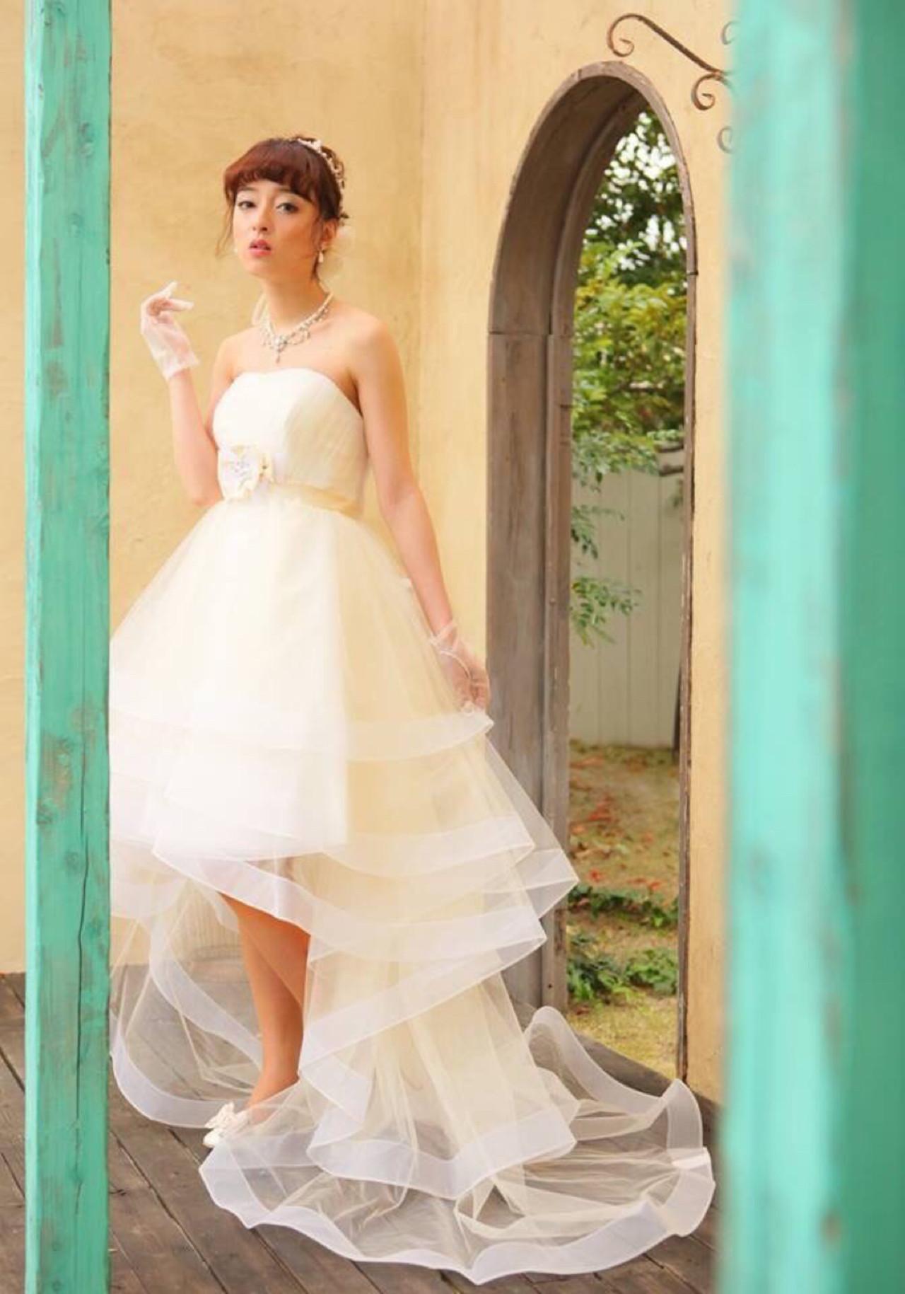 セミロング ブライダル フェミニン ヘアアレンジ ヘアスタイルや髪型の写真・画像 | ひろせ さきか /