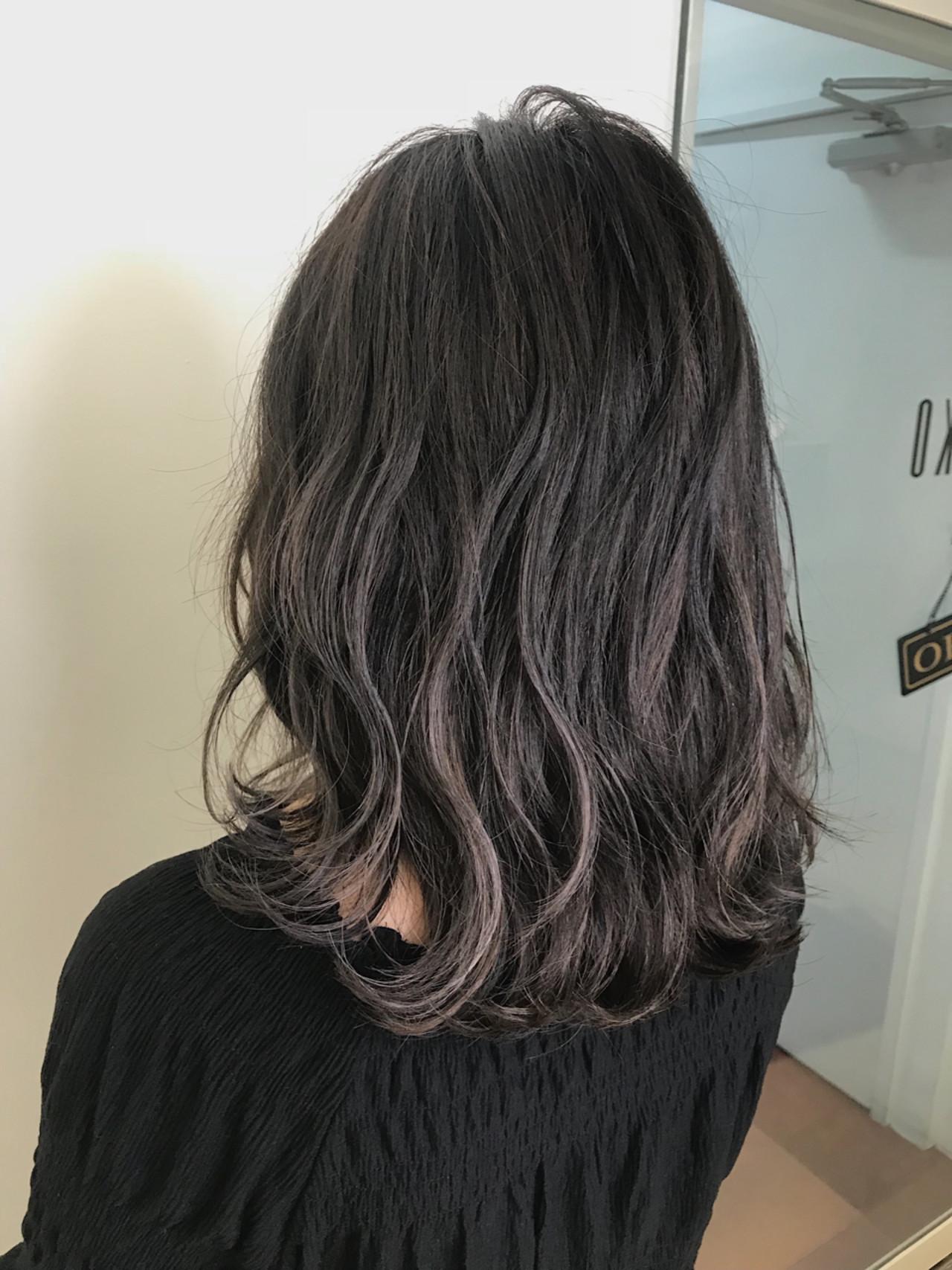 グラデーションカラー ハイライト 女子力 ナチュラルヘアスタイルや髪型の写真・画像