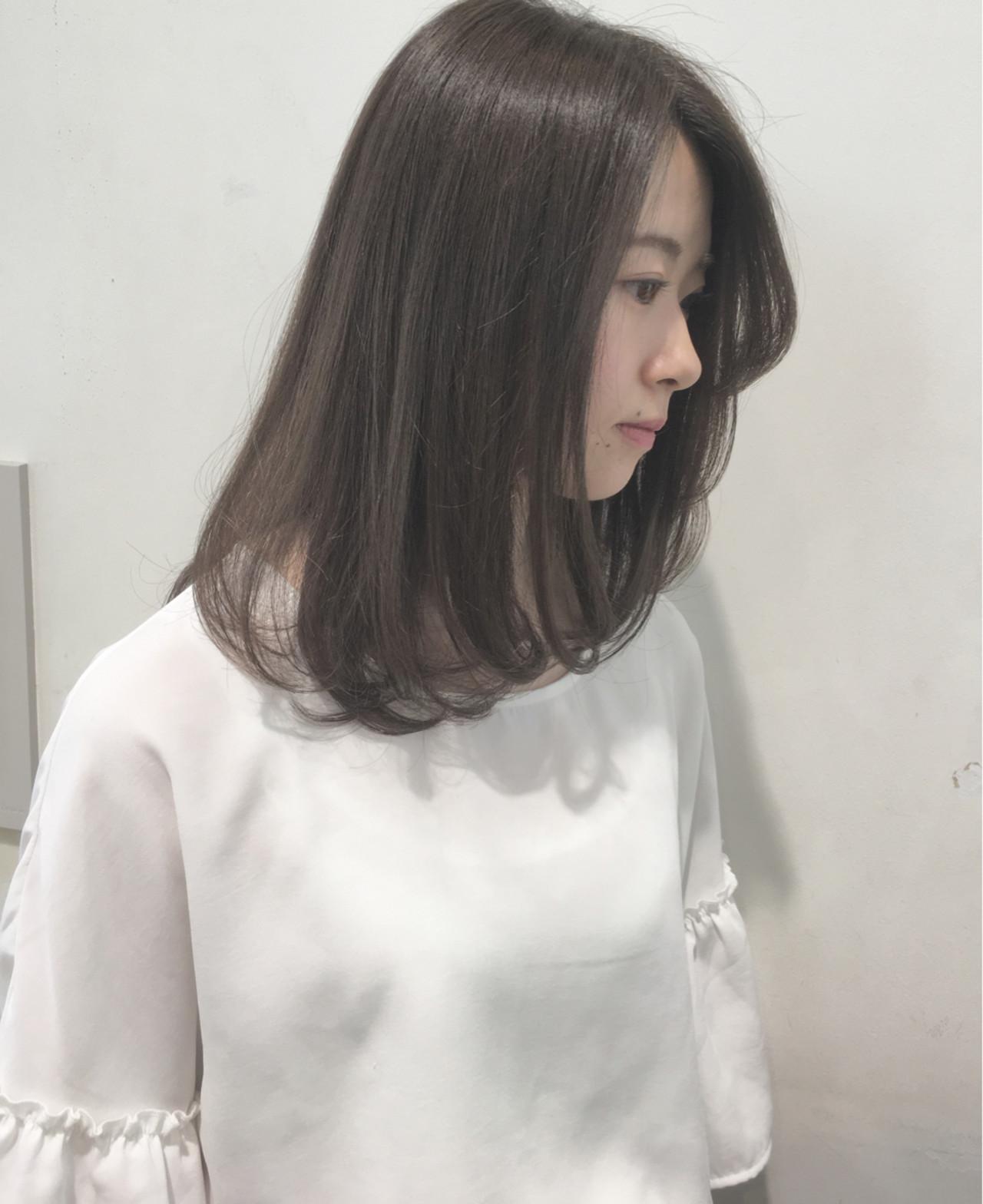 ボブ 透明感 ナチュラル セミロング ヘアスタイルや髪型の写真・画像   市岡 久 / BLANCOtres