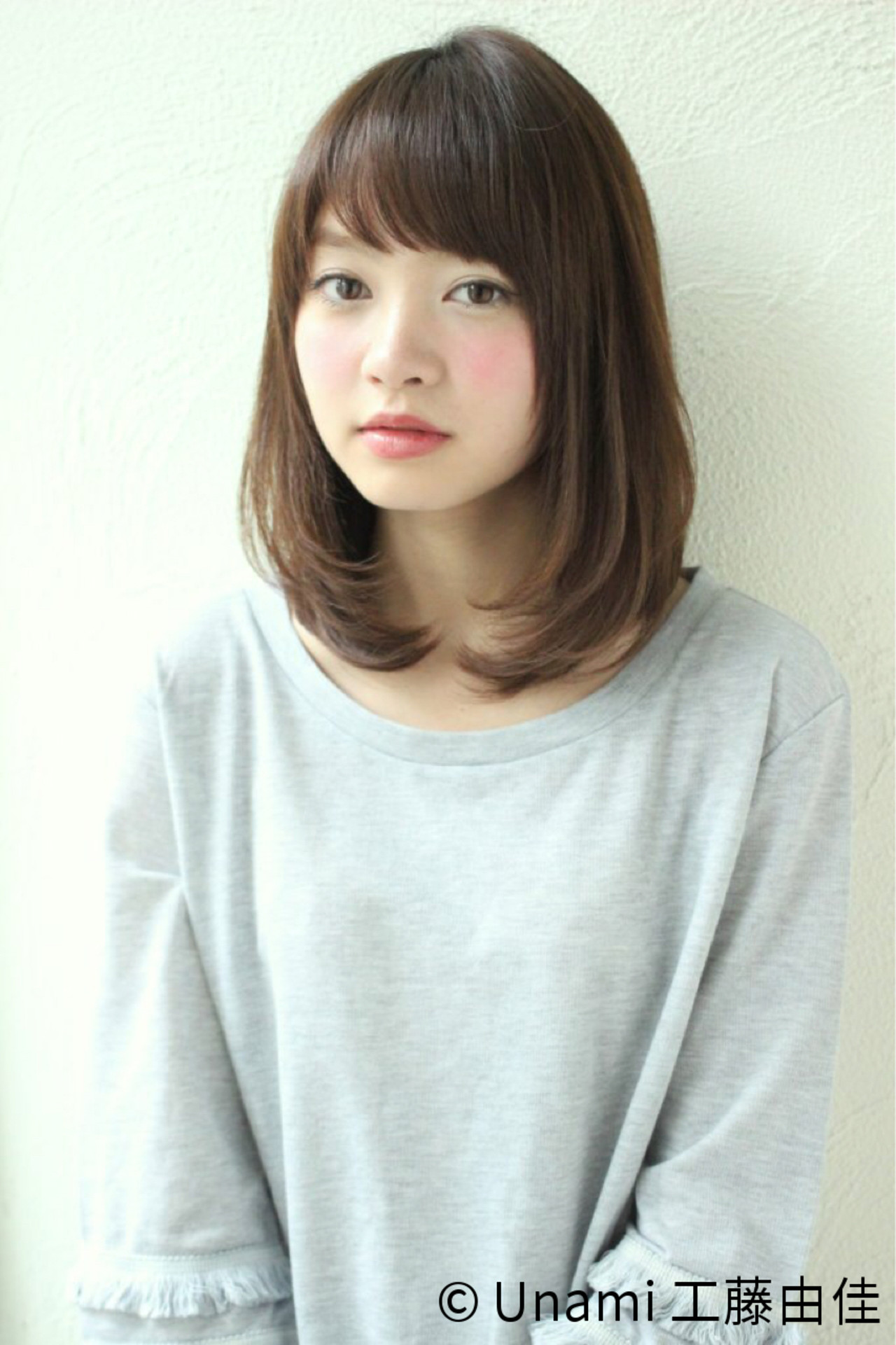 夏 ナチュラル ミディアム 愛され ヘアスタイルや髪型の写真・画像 | Unami 工藤由佳 / Unami omotesando