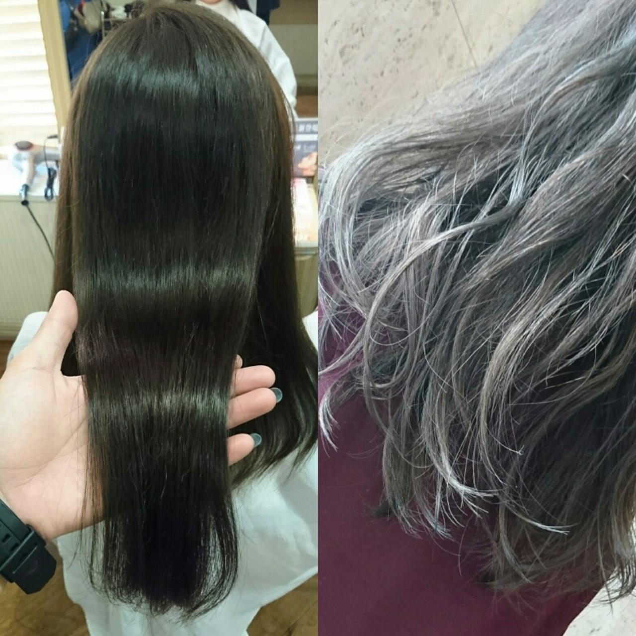 ナチュラル ストレート パーマ フェミニンヘアスタイルや髪型の写真・画像