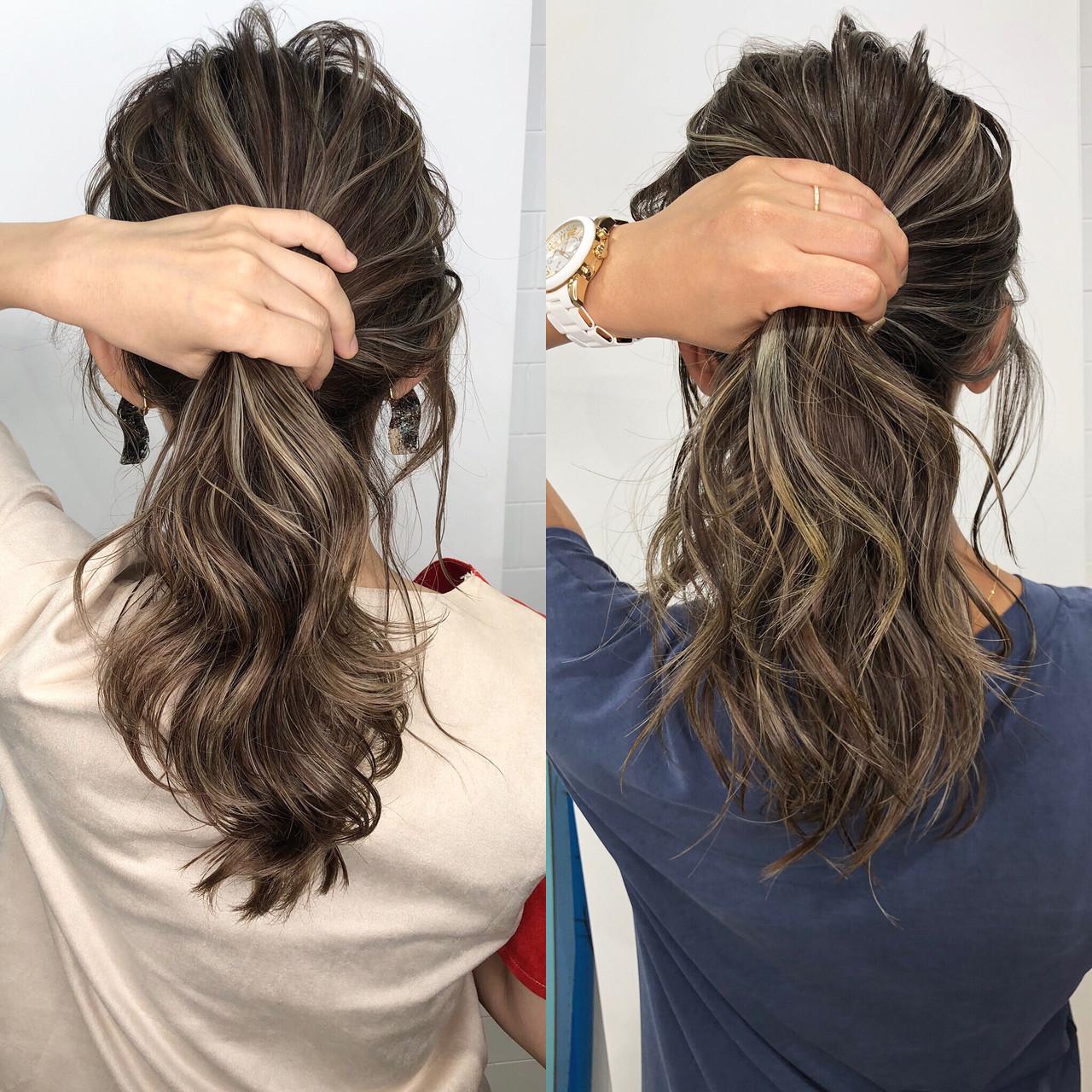 切りっぱなしボブ 外国人風カラー グレージュ ハイライトヘアスタイルや髪型の写真・画像