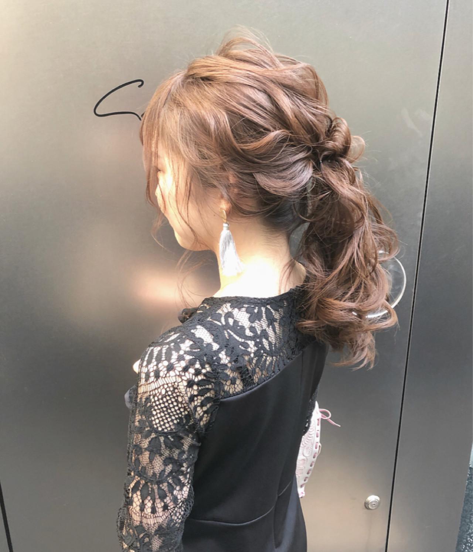ロング デート 結婚式 簡単ヘアアレンジ ヘアスタイルや髪型の写真・画像 | hii.de@✂︎ / Maison de sisi