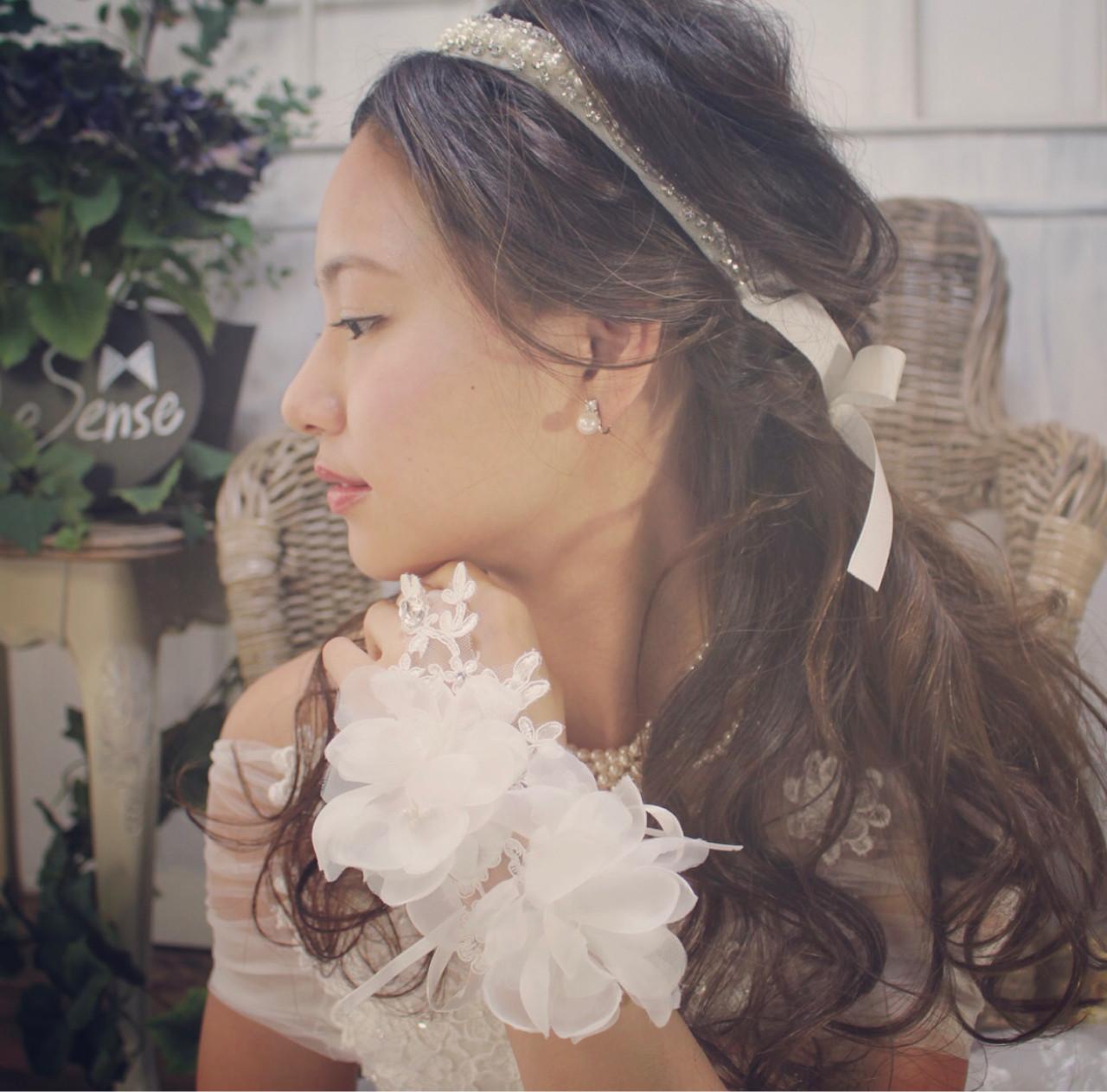 ブライダル 結婚式 ヘアアレンジ フェミニン ヘアスタイルや髪型の写真・画像 | yuuui /