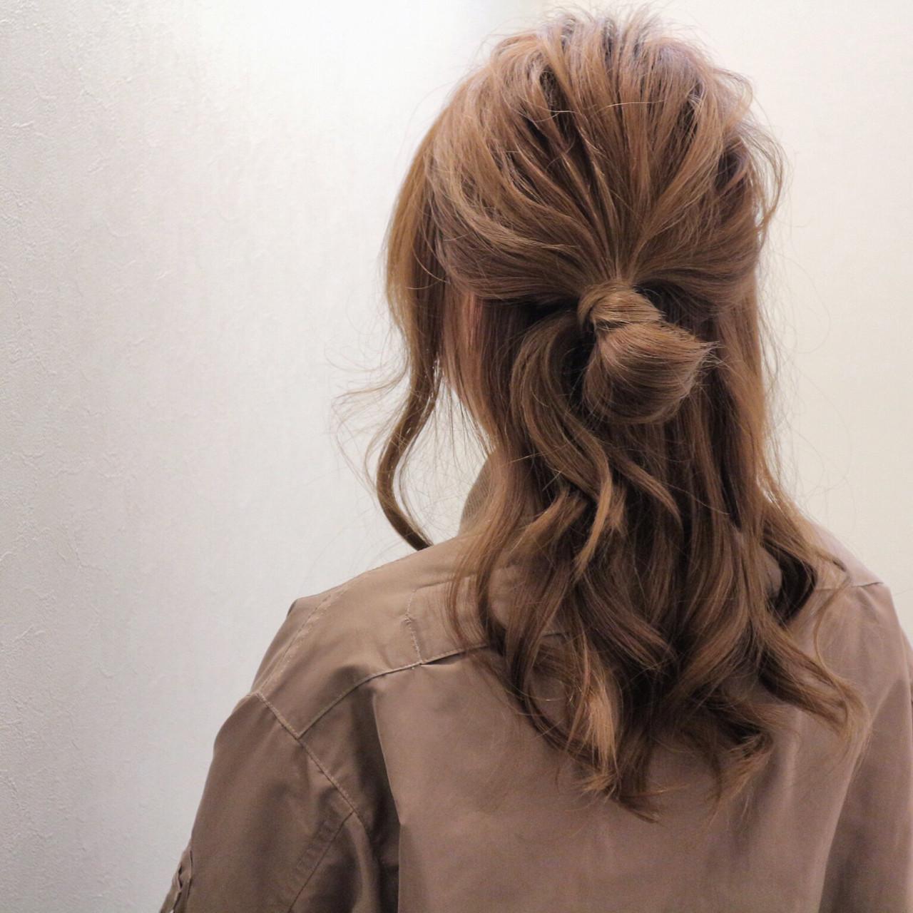 簡単ヘアアレンジ 大人女子 ハーフアップ ヘアアレンジヘアスタイルや髪型の写真・画像